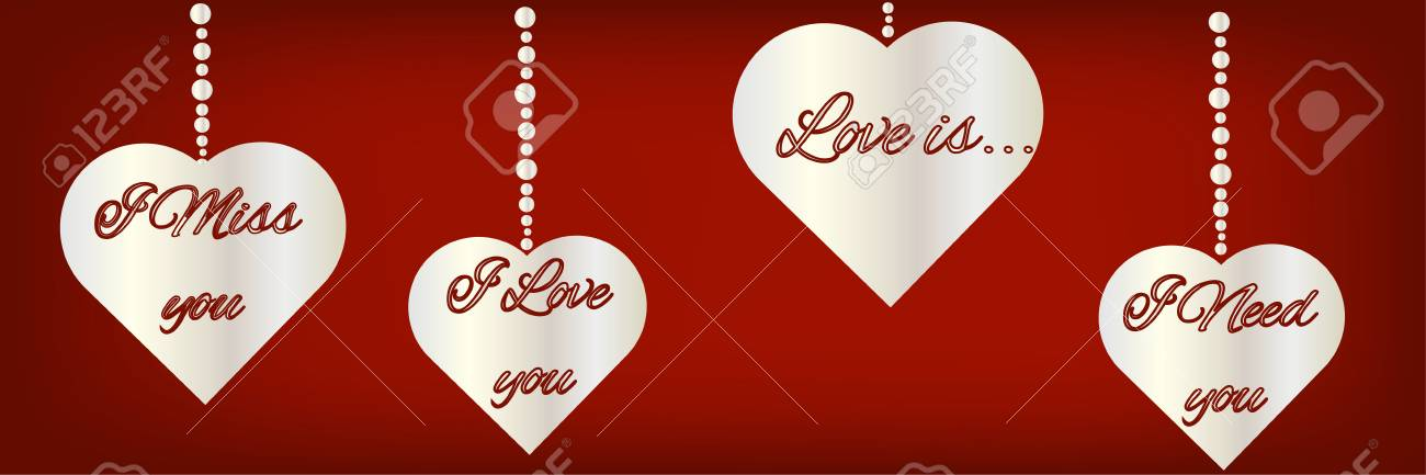 Silhouettes Of Heart Symbols With The Text About Love On The Stock