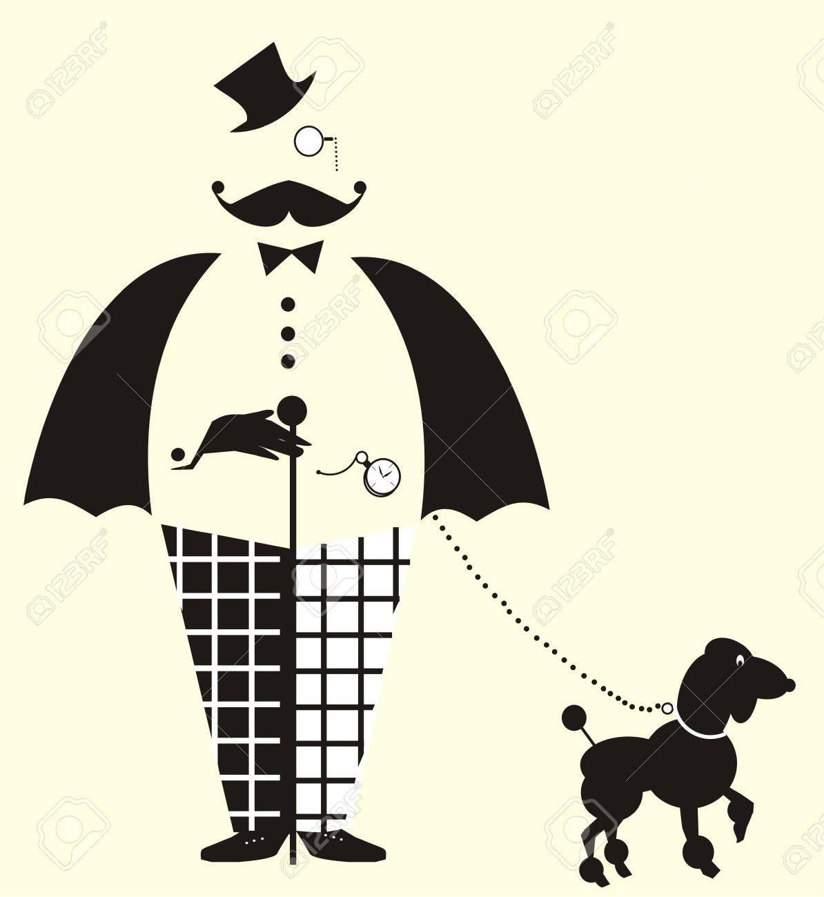 Fun Gentlemanwith Un Chien Dessin Vectoriel Avec Un Pantalon à Carreaux Gentleman Amusement Et Un Nud Papillon Avec Un Chien