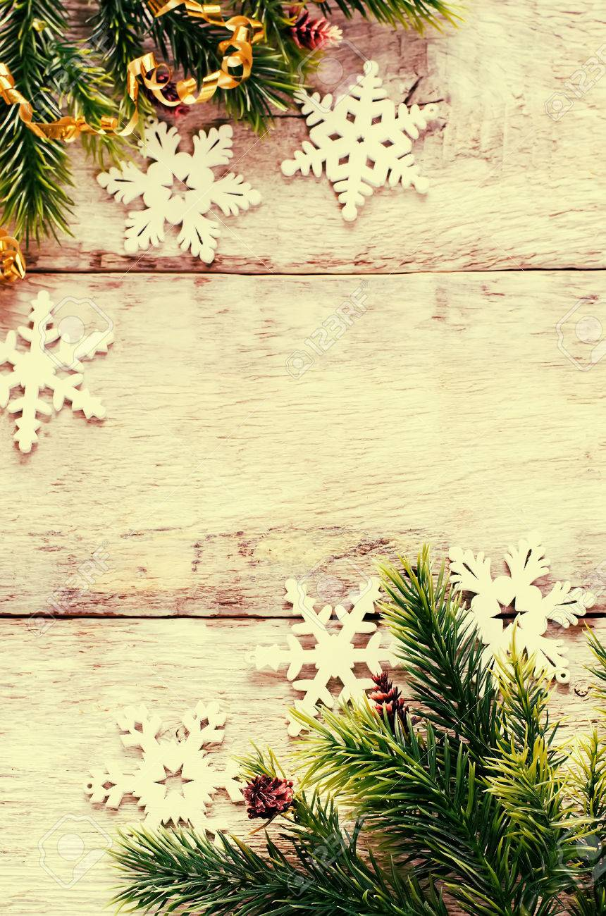Christmas Decorations With Fir Tree Branch And Snowflakes On.. Stock ...