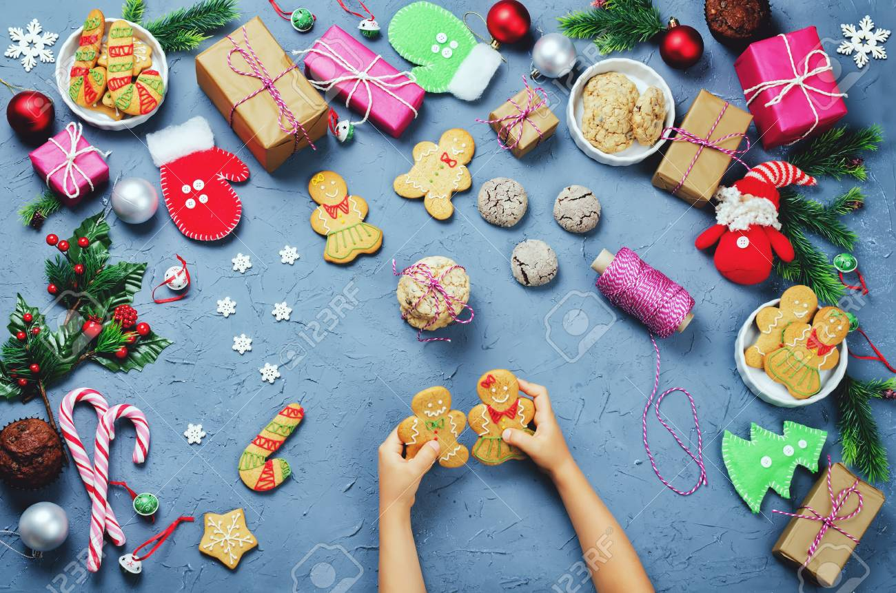 Christmas Background With Gifts, Cookies, Christmas Decoration ...