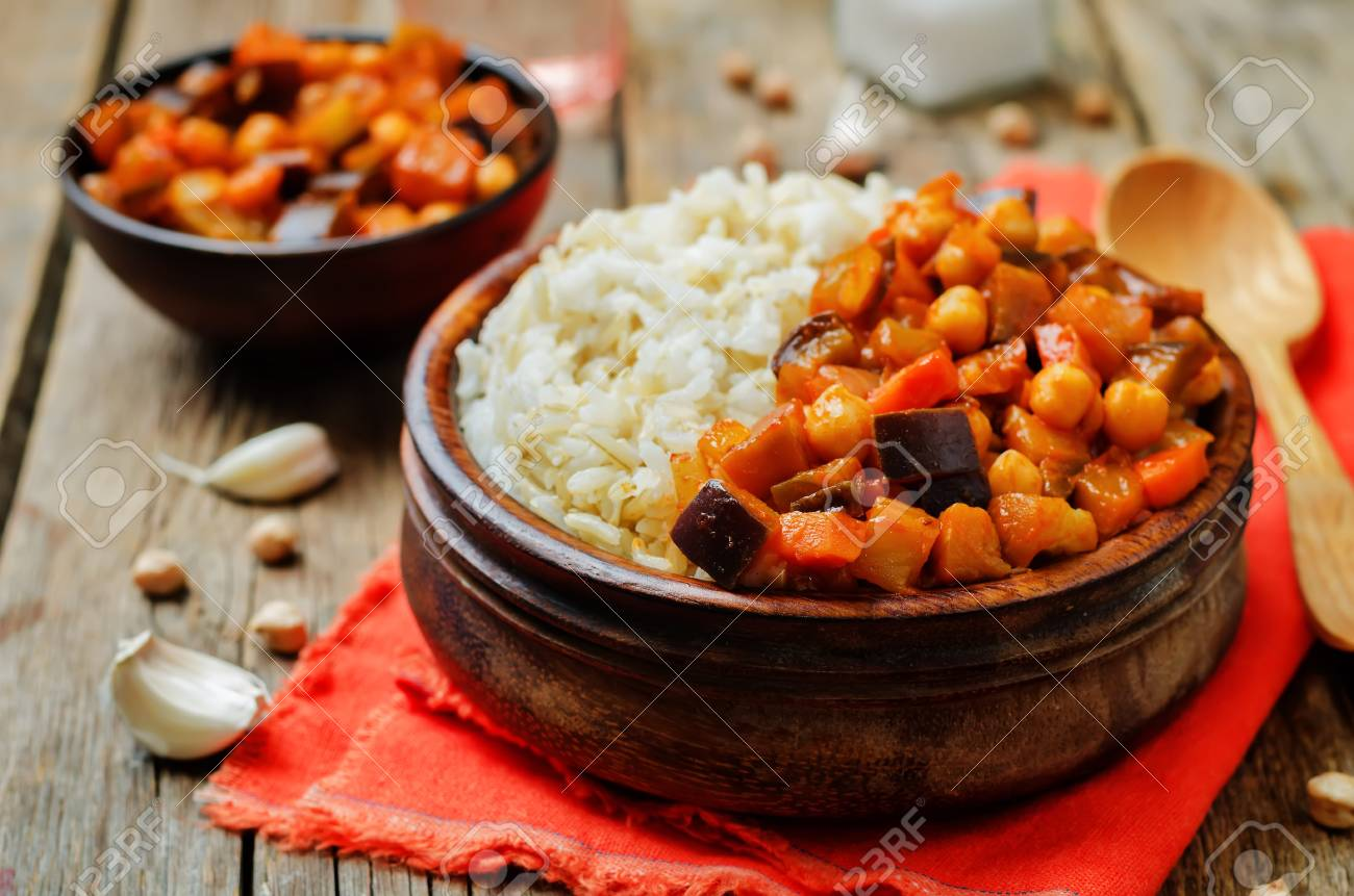 Eggplant and tomato chickpea curry with rice. toning. selective focus - 120516267