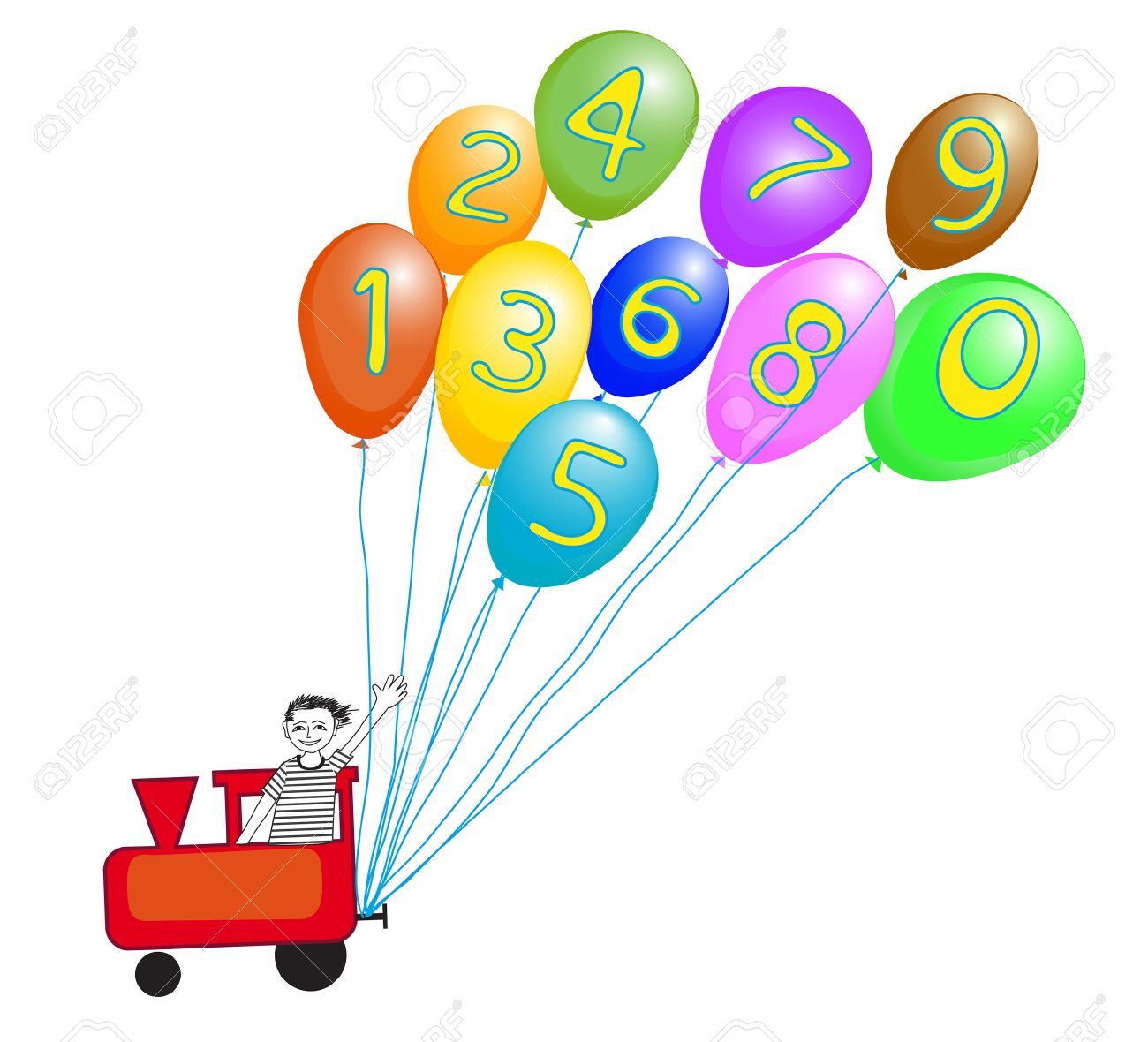 Toy train operated by smiling boy with colorful baloons and numbers for preschool learning Stock Vector - 23210687