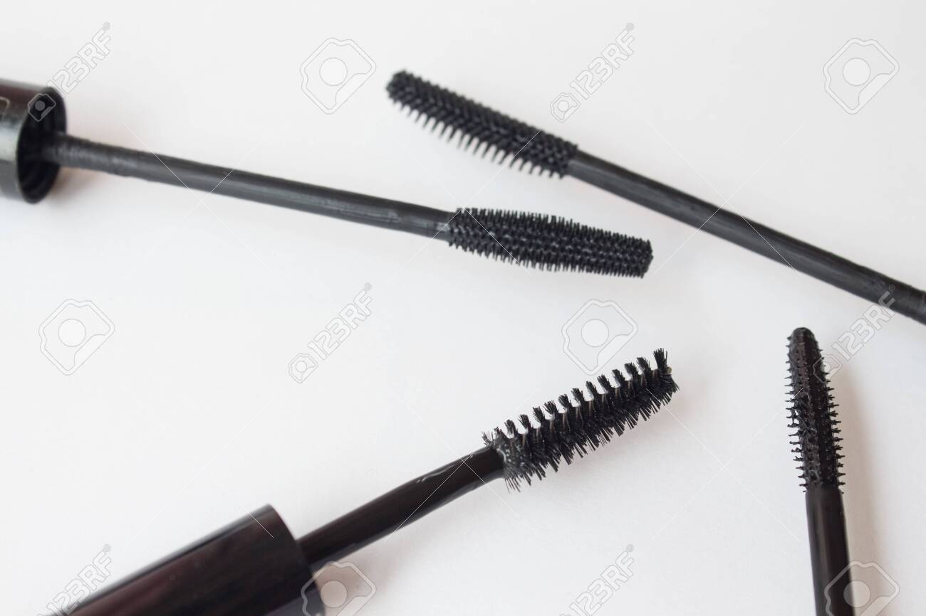 Set of mascara brushes on a white background. spa and makeup concept. Top view. Flat lay composition. - 144855130