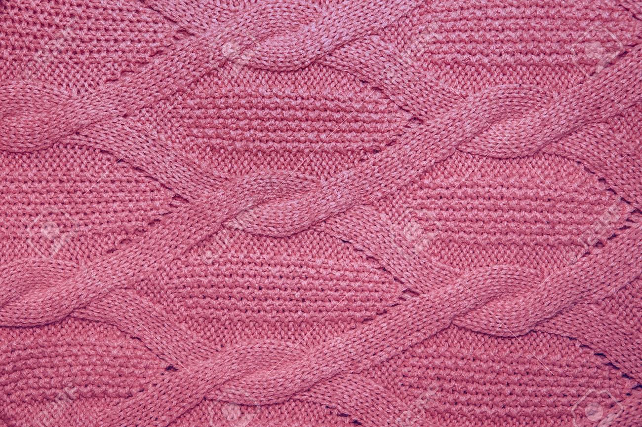 Roze Wollen Trui.Roze Wollen Trui Textuur Close Up Gebreide Trui Achtergrond Met Een