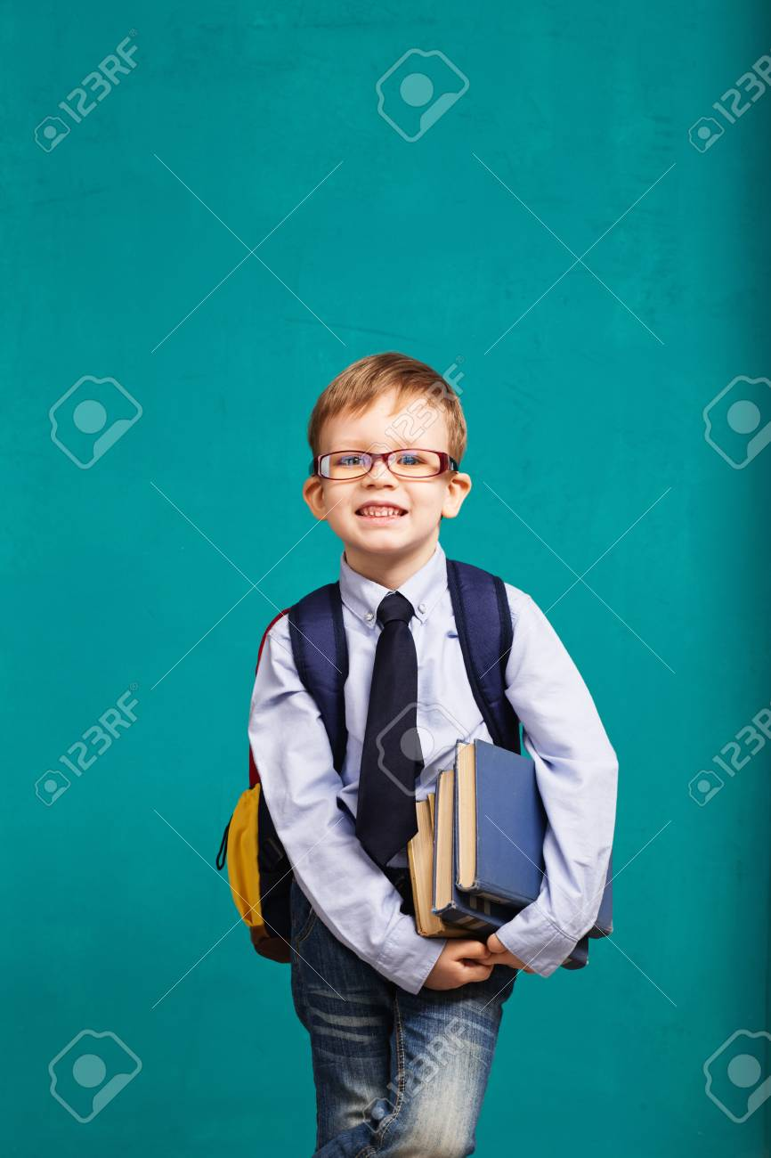 Book, school, kid  little student holding books  Cheerful smiling