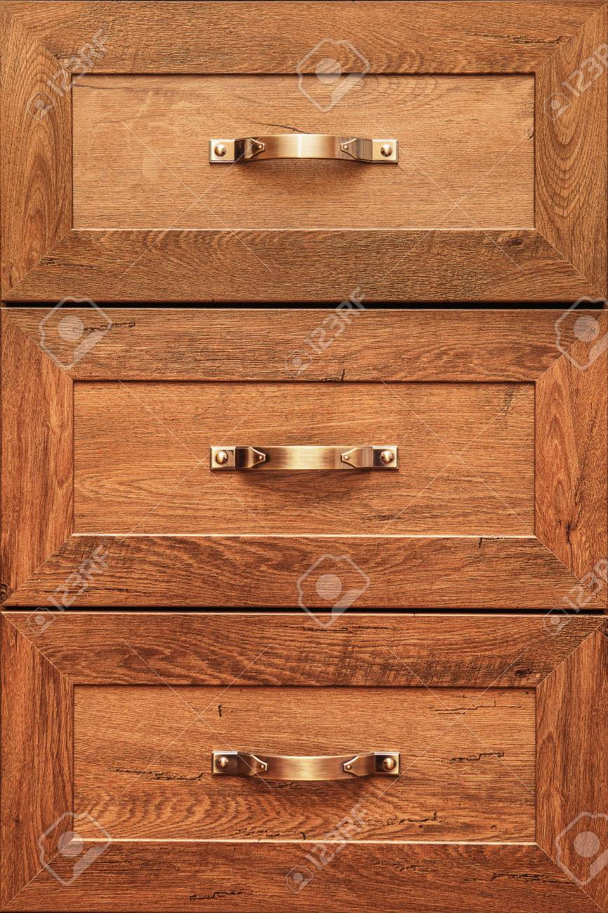 Detail Der Dekorierten Möbelschubladen. Alte Schublade - Dämpfer ...