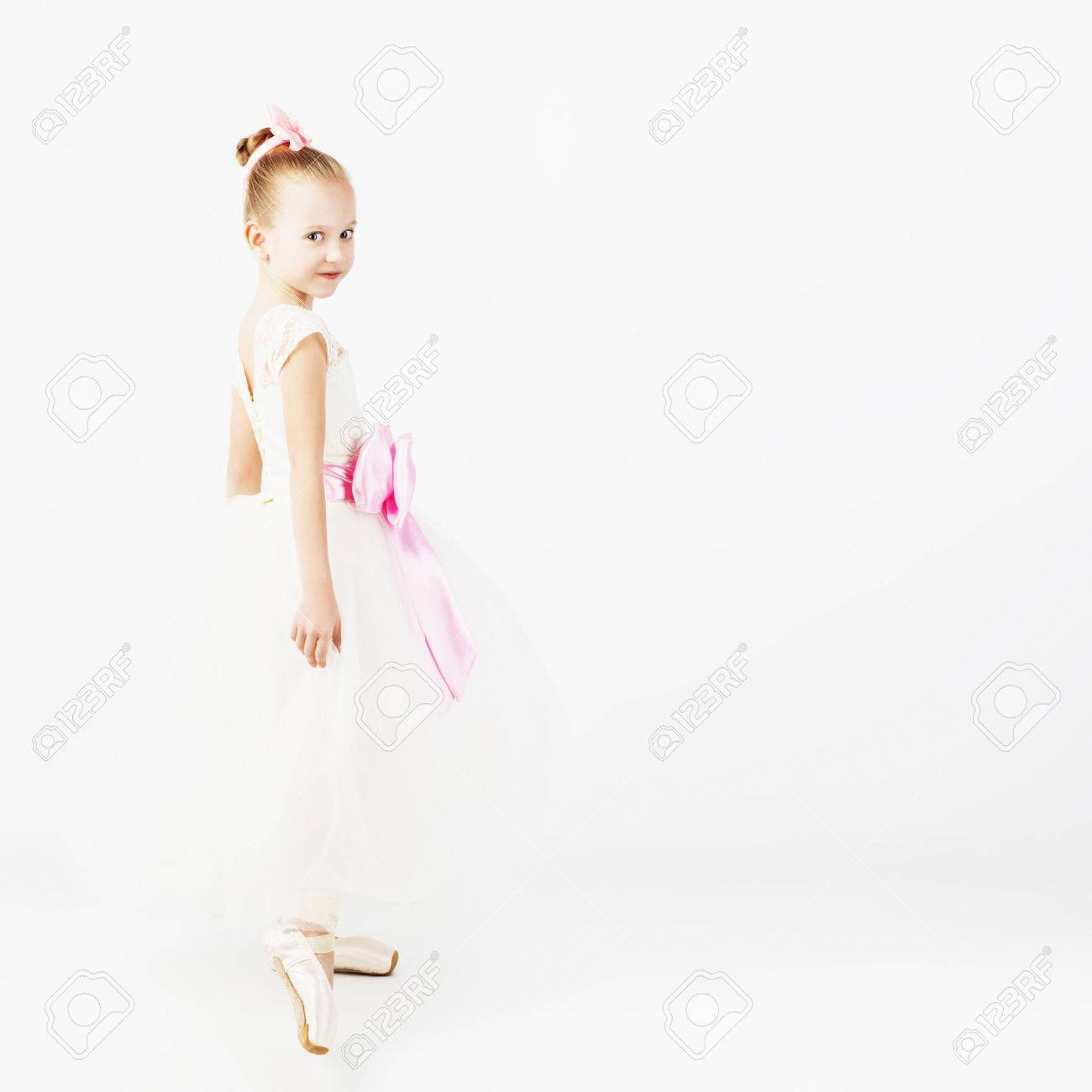 1fc82e60c Beautiful Ballet Dancer Isolated On White Background. Slender ...