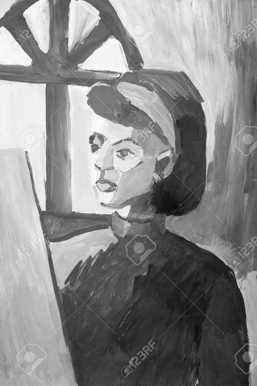 Illustration portrait painting of young girl in monochrome colors black and white illustration