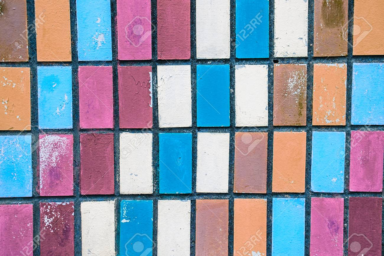 Texture Of Old Wall Tiles With Peeling Bright Paint. Colorful ...