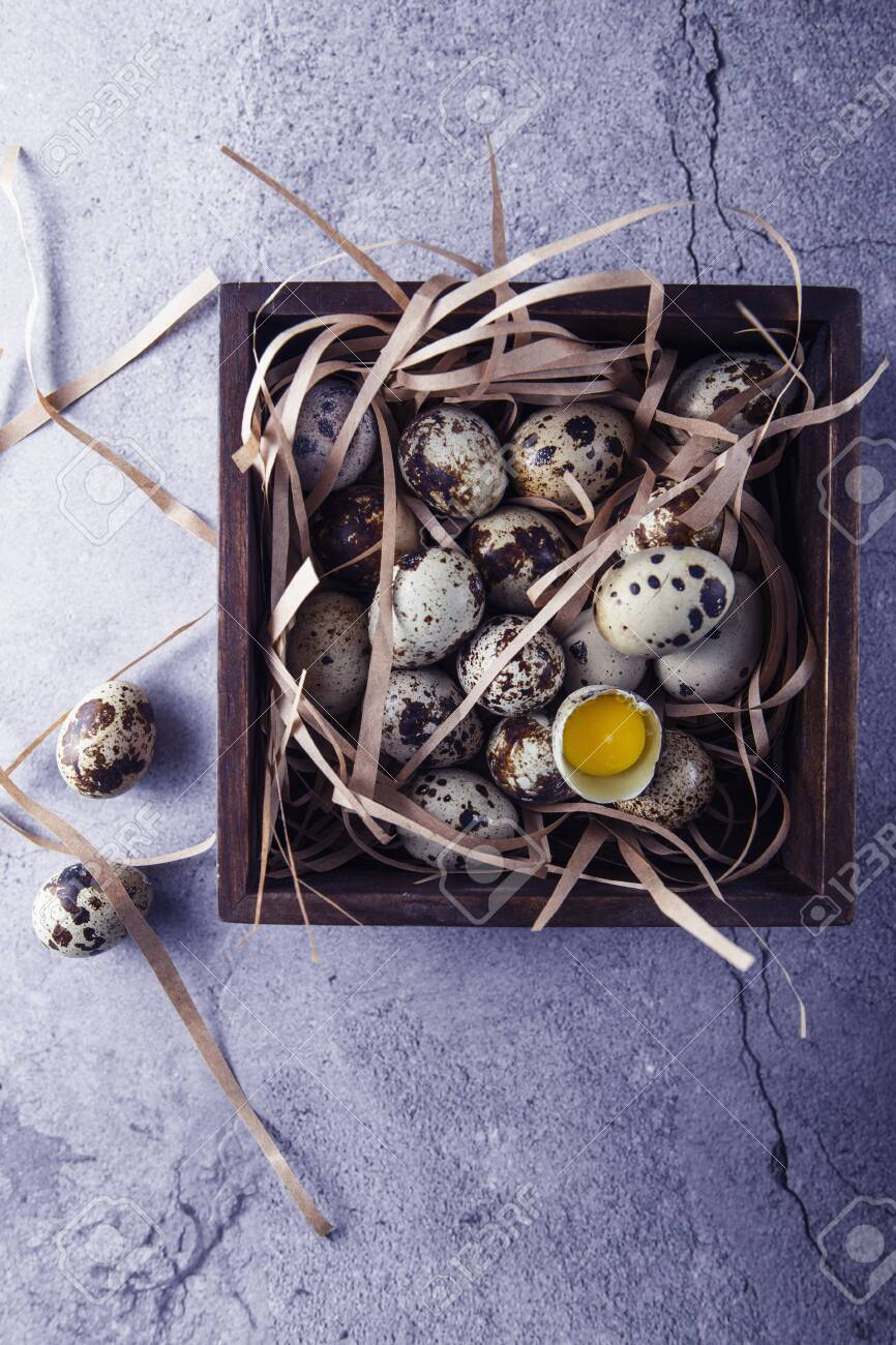 Quail Eggs Flat Lay Composition With Small Quail Eggs In The