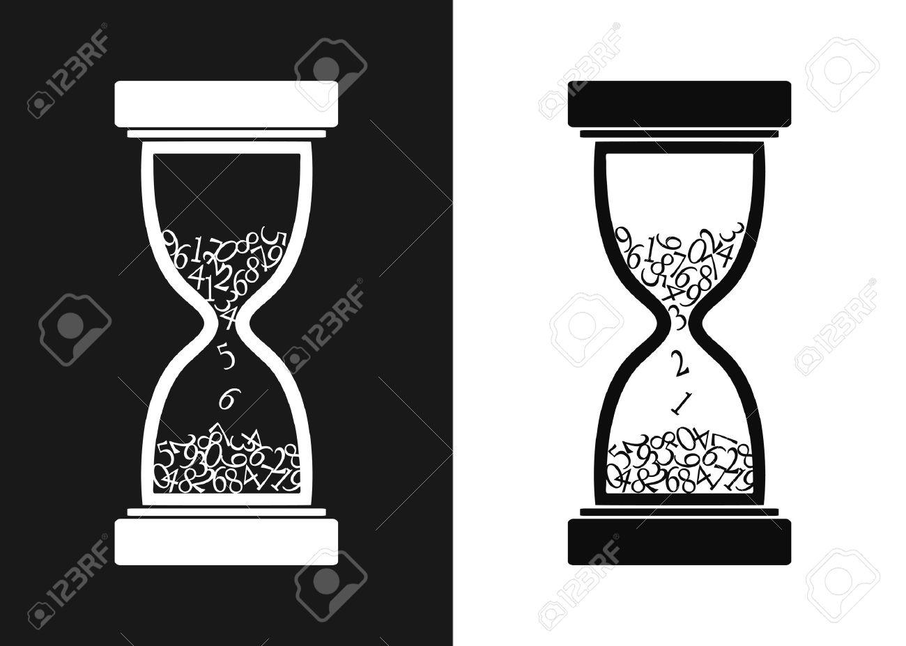 Reloj De Arena Estilizado Blanco Y Negro Ilustración Vectorial