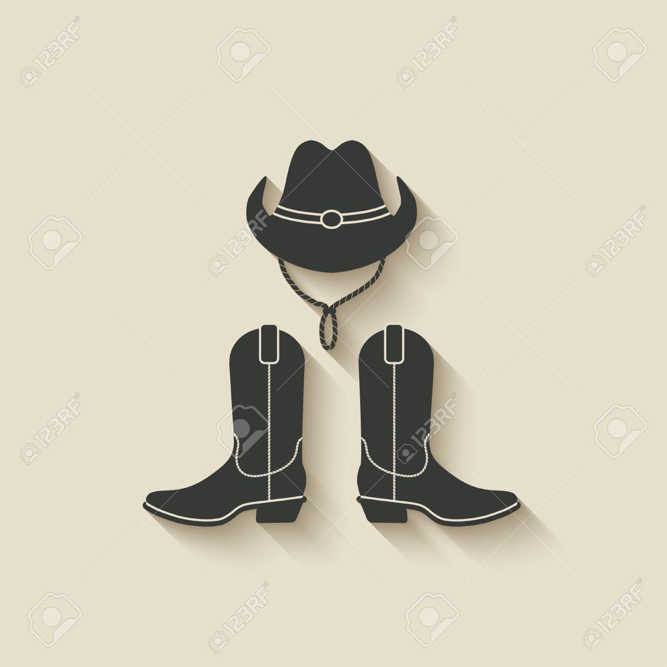 Botas y sombrero vaquero icono - ilustración vectorial. eps 10 Foto de  archivo - 28926833 a689ccb4709