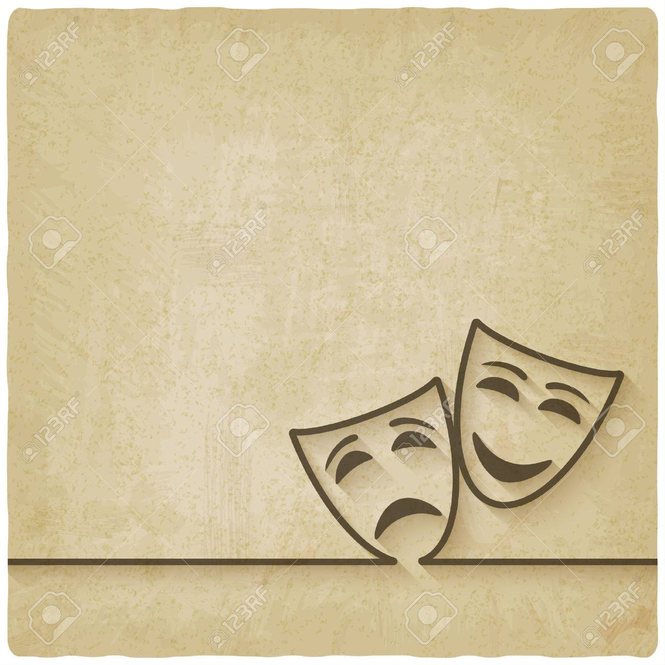comedy and tragedy masks old background - 37879585