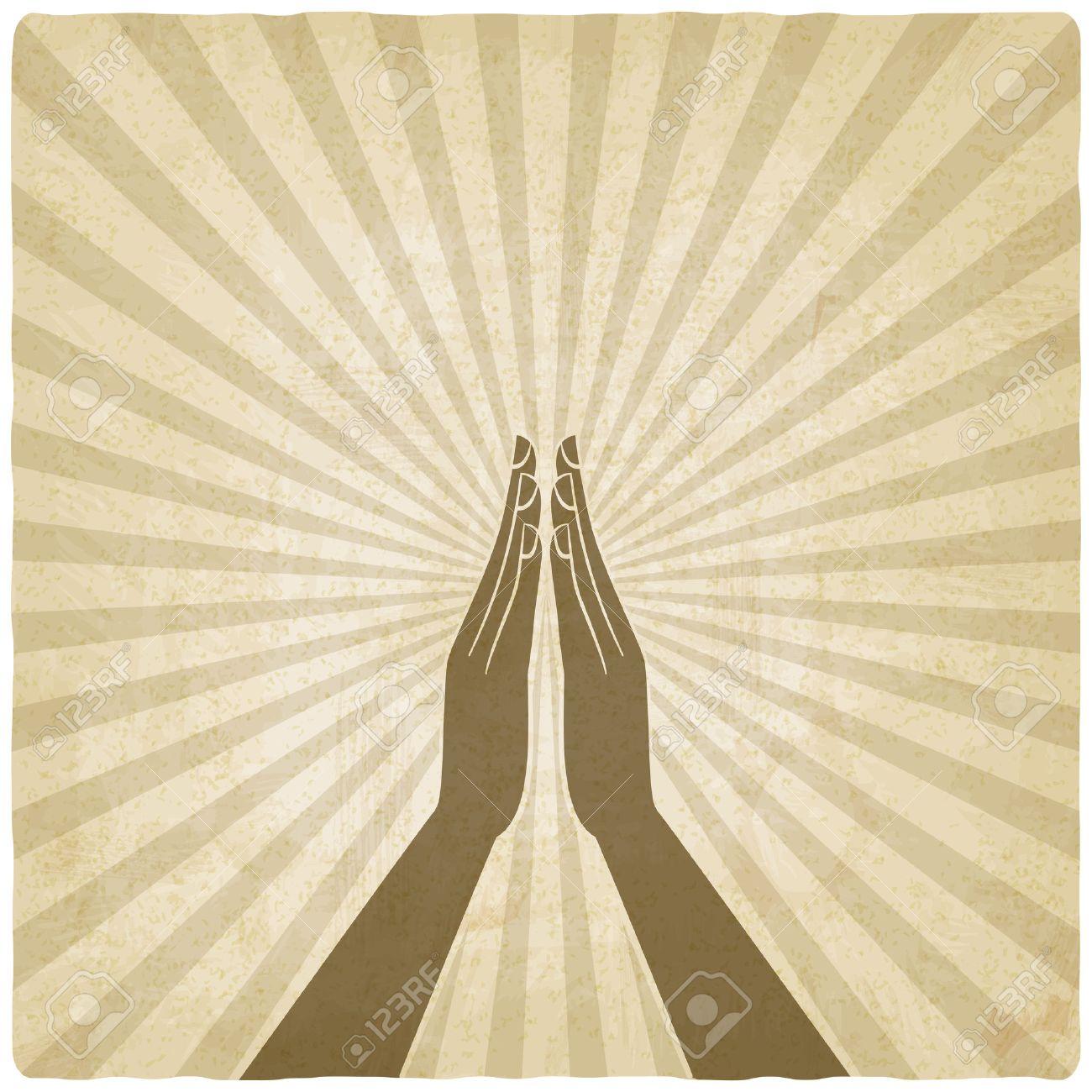 prayer hands symbol old background - vector illustration. eps 10 - 52068462