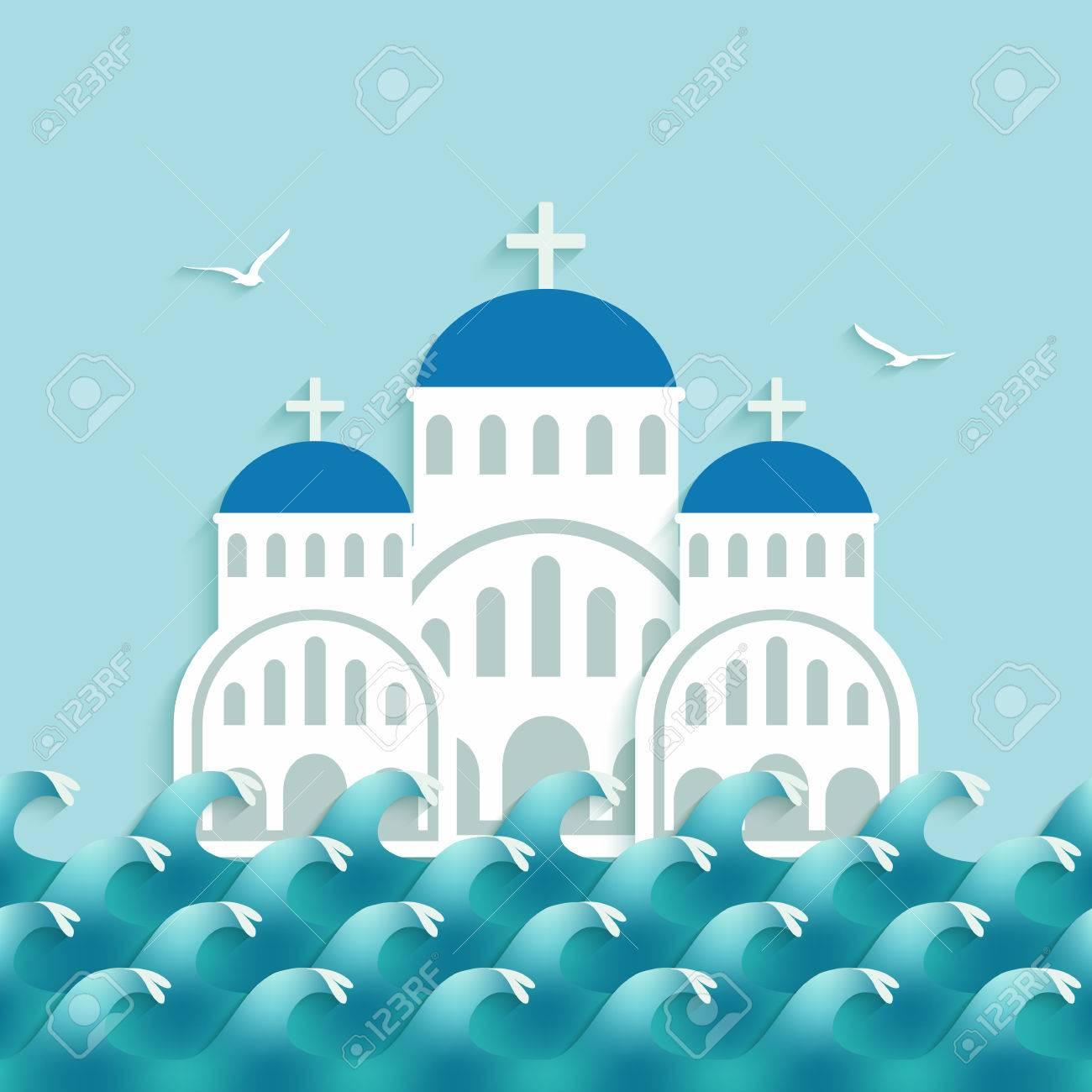 White Greek Church near blue sea. vector illustration - 55718531