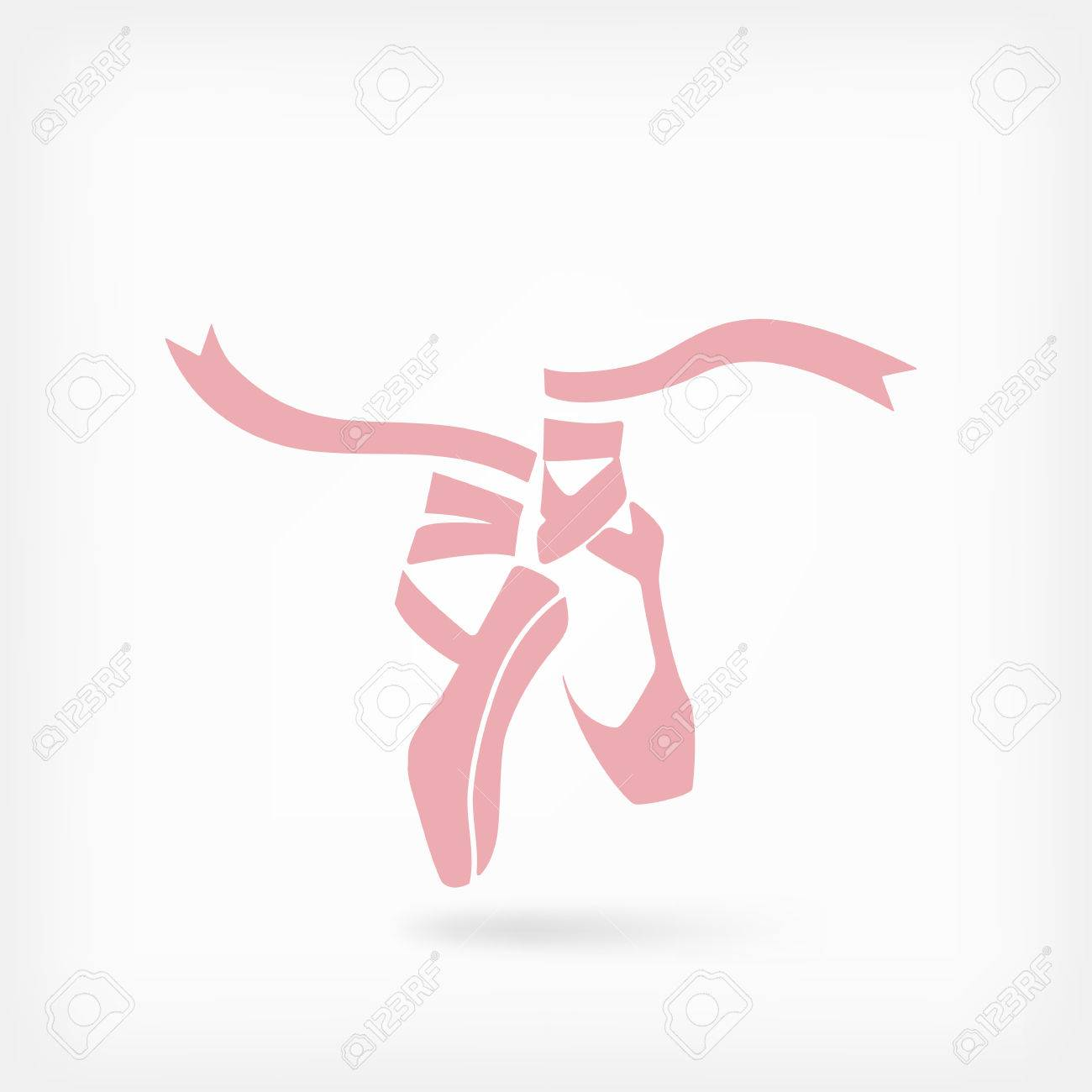 pink ballet pointes. dance studio symbol - vector illustration. - 55718752