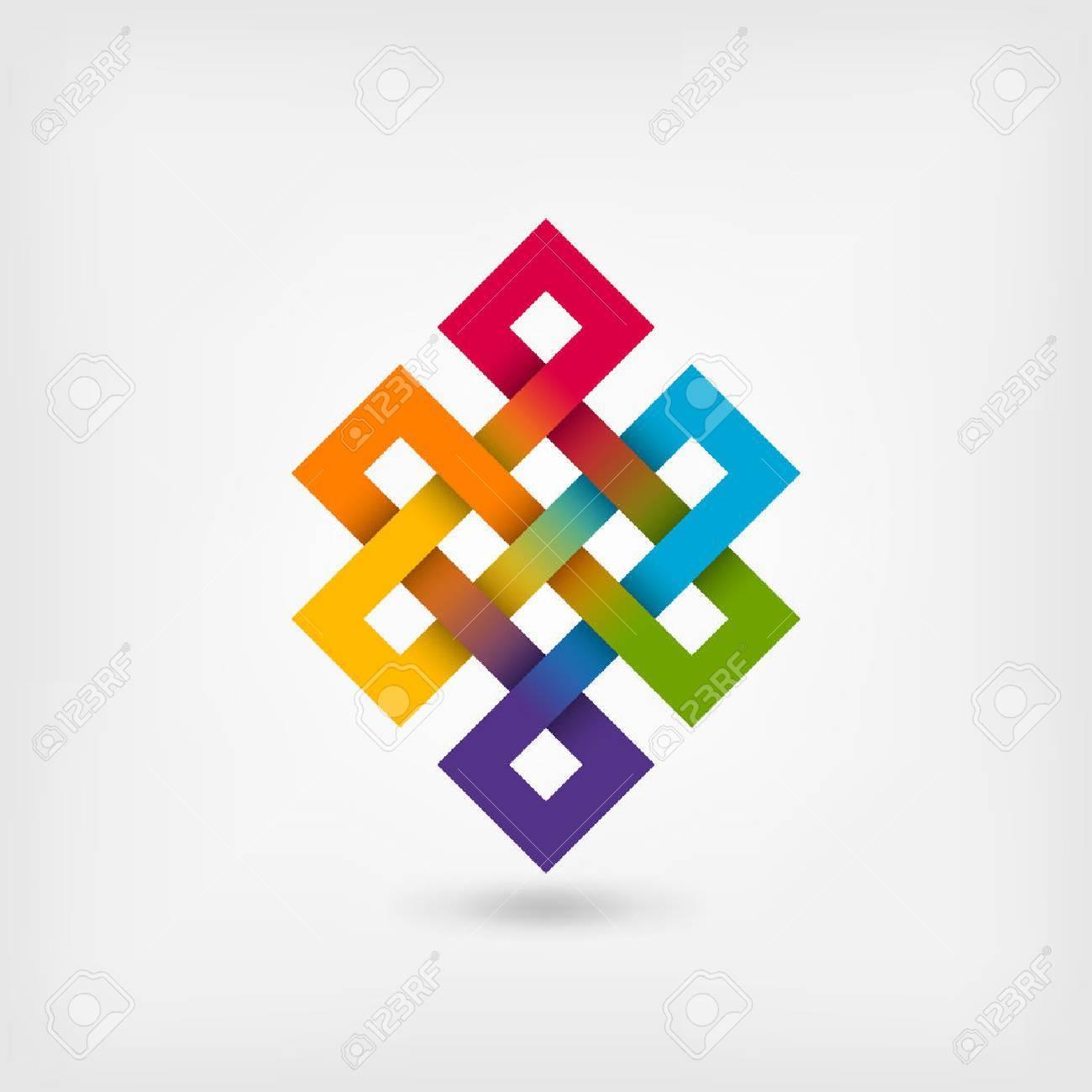 Shrivatsa endless knot in rainbow colors. vector illustration - eps 10 - 77255316