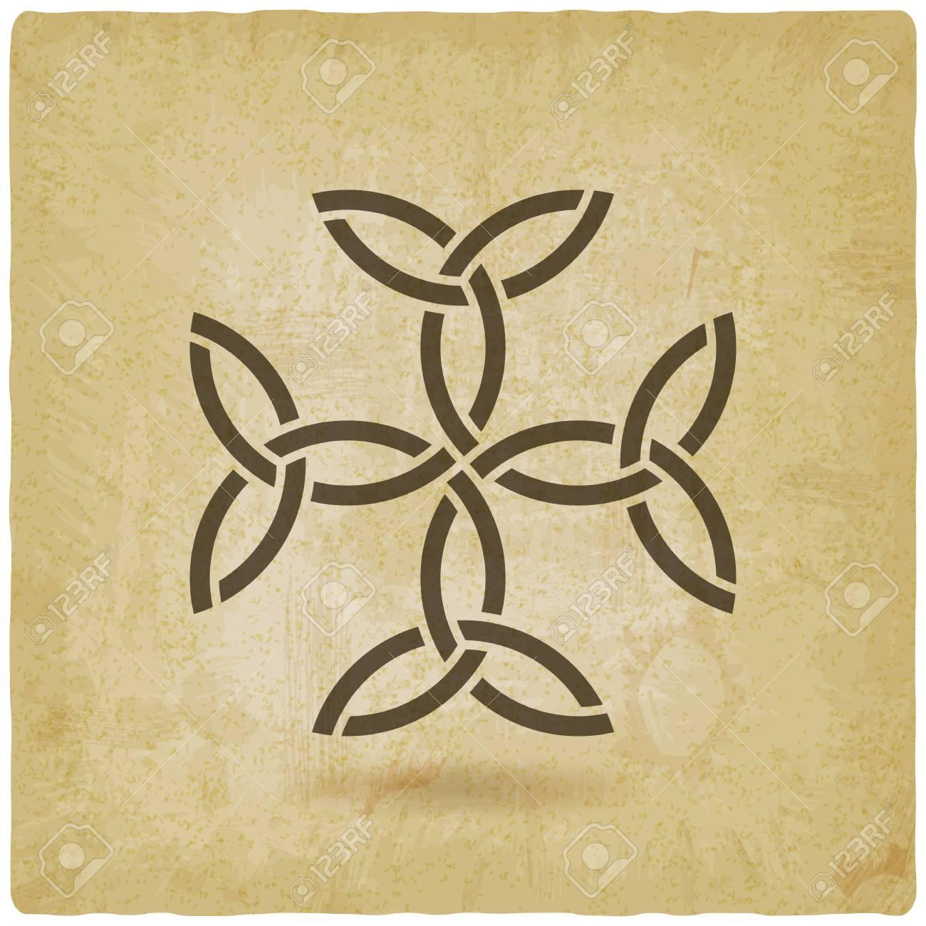 Carolingian Cross Trinity Knots Celtic Symbol Vintage Background