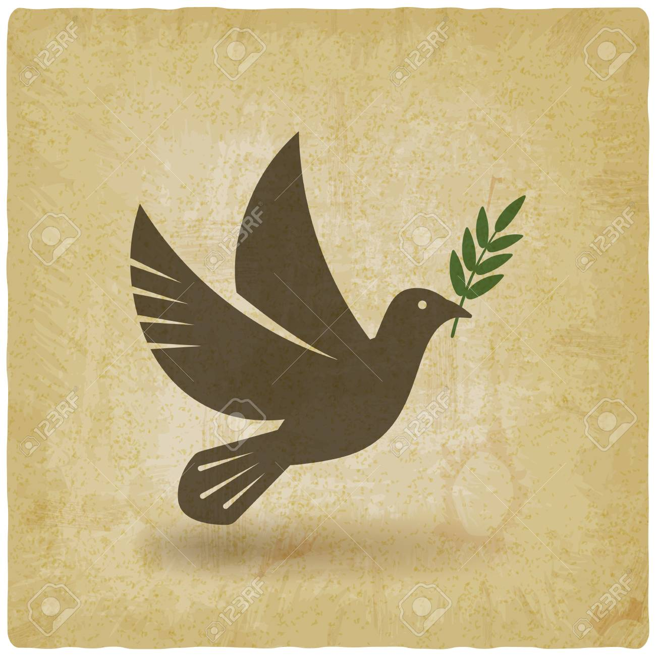 Dove With Olive Branch Vintage Background Vector Illustration Royalty Free Cliparts Vectors And Stock Illustration Image 113441555