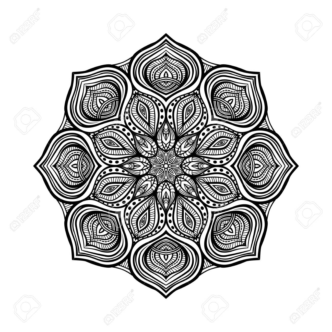 Black floral circular pattern on white background. Coloring book for adults. Vector illustration - 131138151