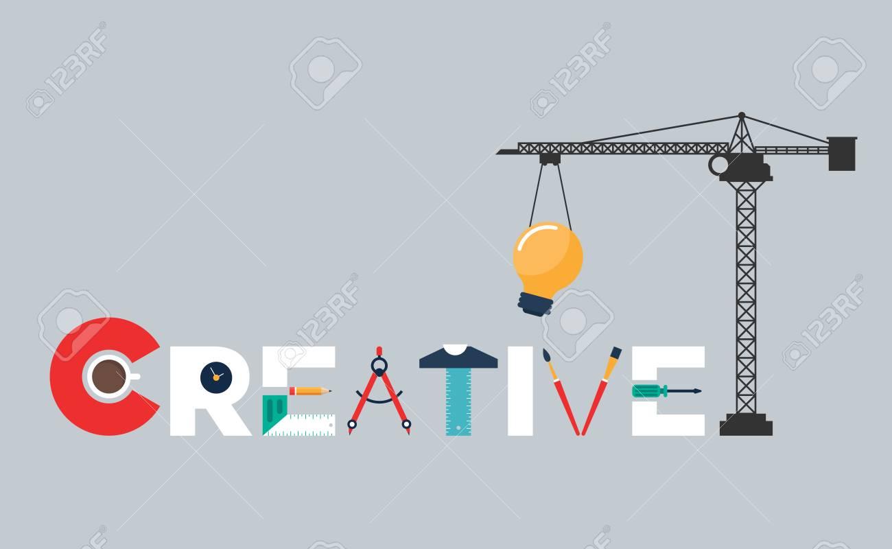 Creative Idea Concept Inspiration Process Flat Design Vector Illustration Stock