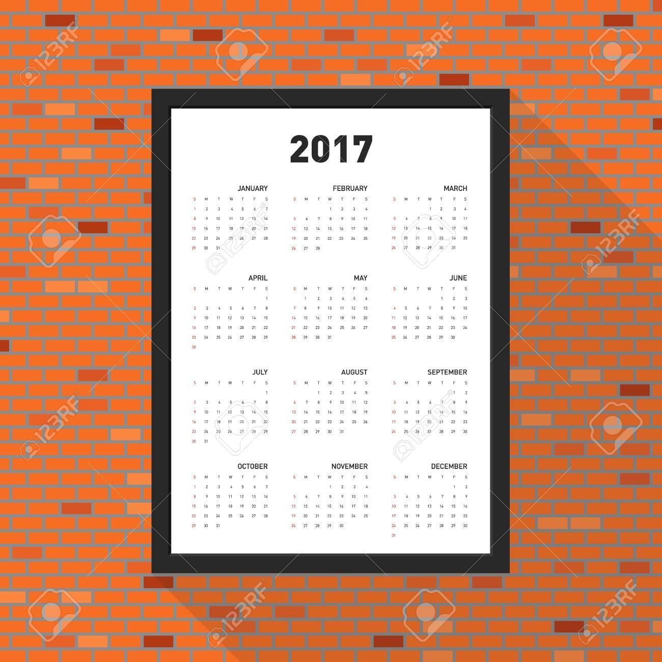 Calendario 2017 Por Un Año, Marco En La Pared De Ladrillo, Comienza ...