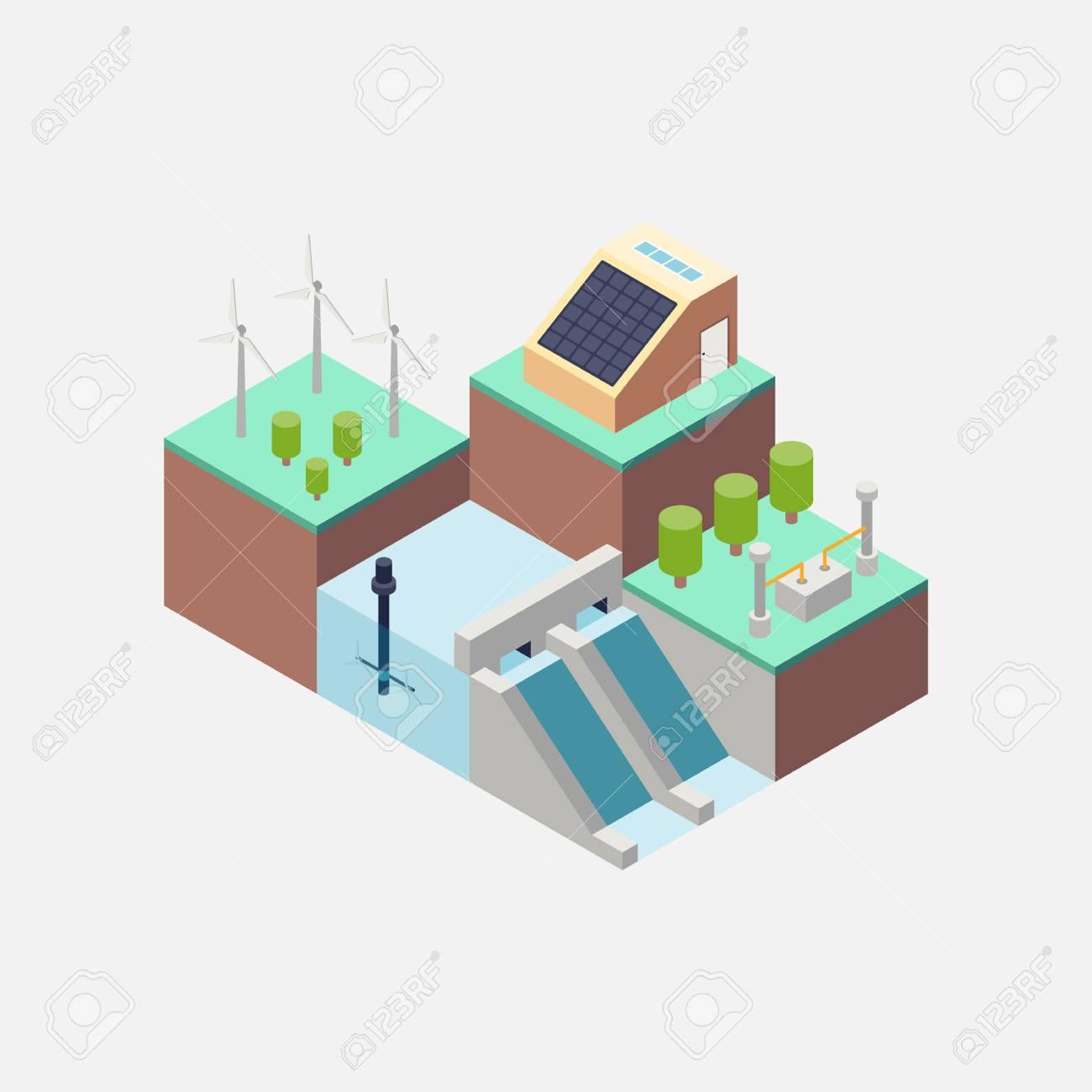 Renewable energy concept flat design, vector illustration - 82938307