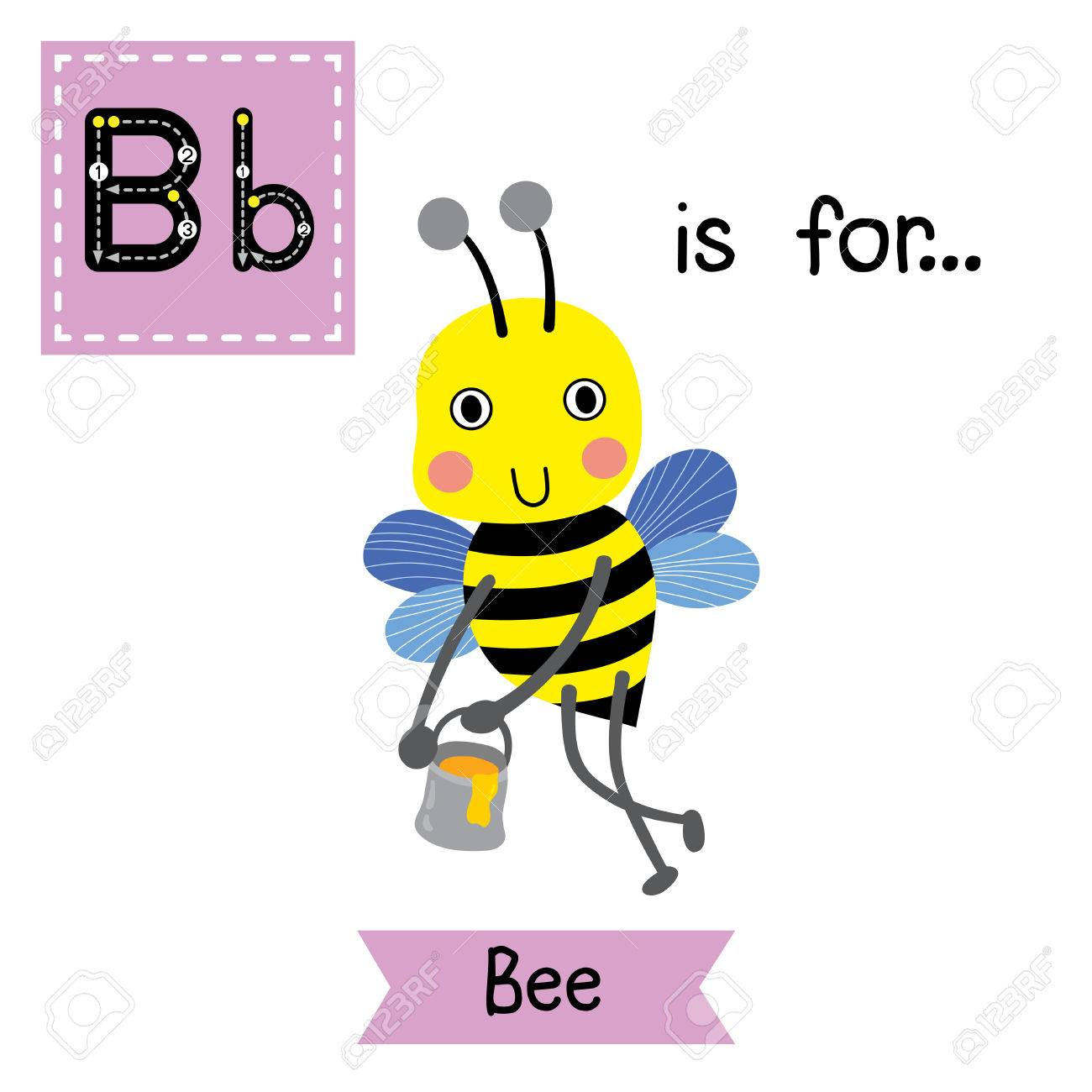 b letter tracing happy big bee flying around with a brimful jar of delicious honey