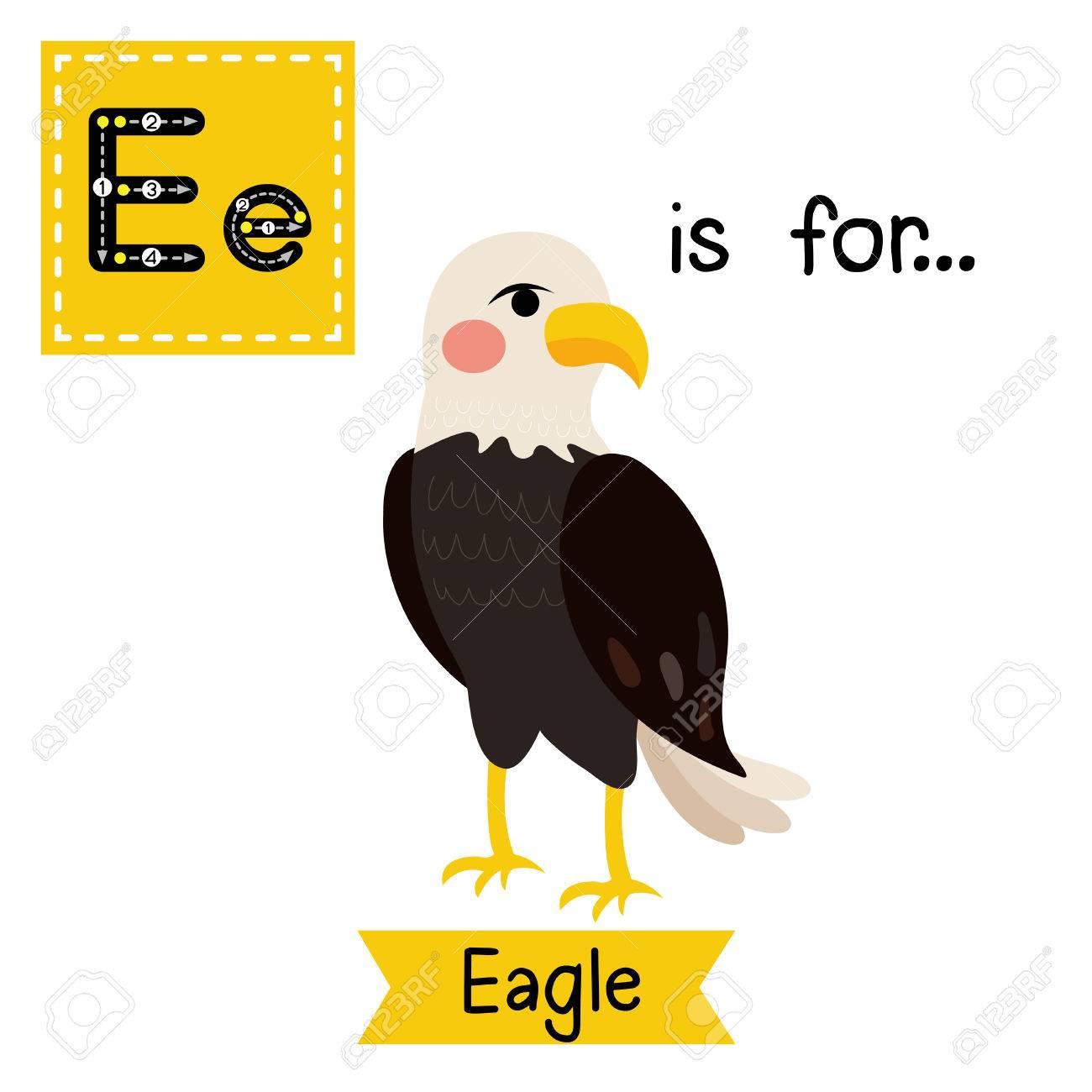 Standing Eagle. Cute Children Zoo Alphabet Flash Card. Funny Cartoon