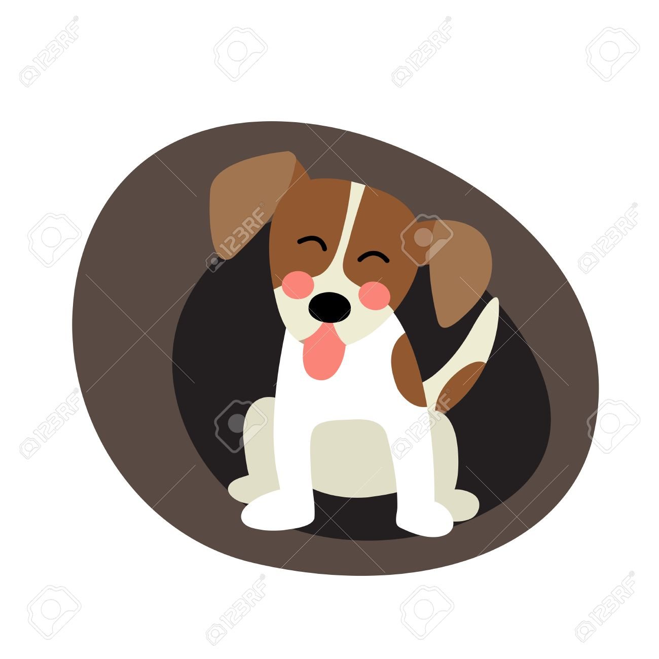 Sitting jack russell terrier dog animal cartoon character. isolated