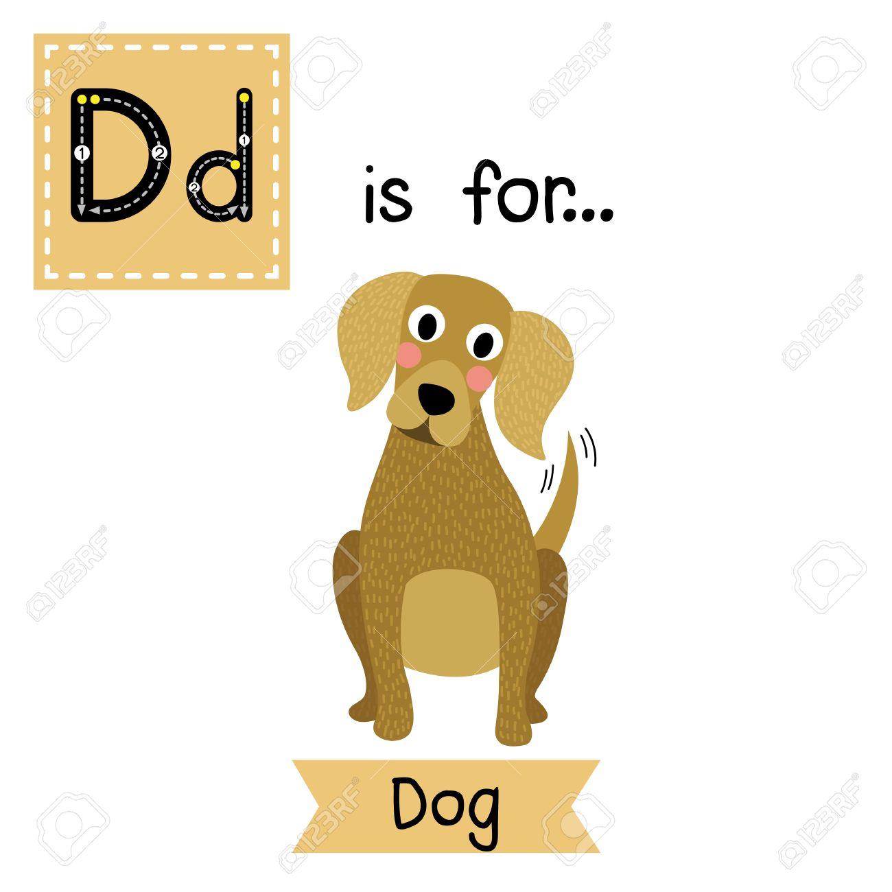 d letter tracing sitting dog cute children zoo alphabet flash