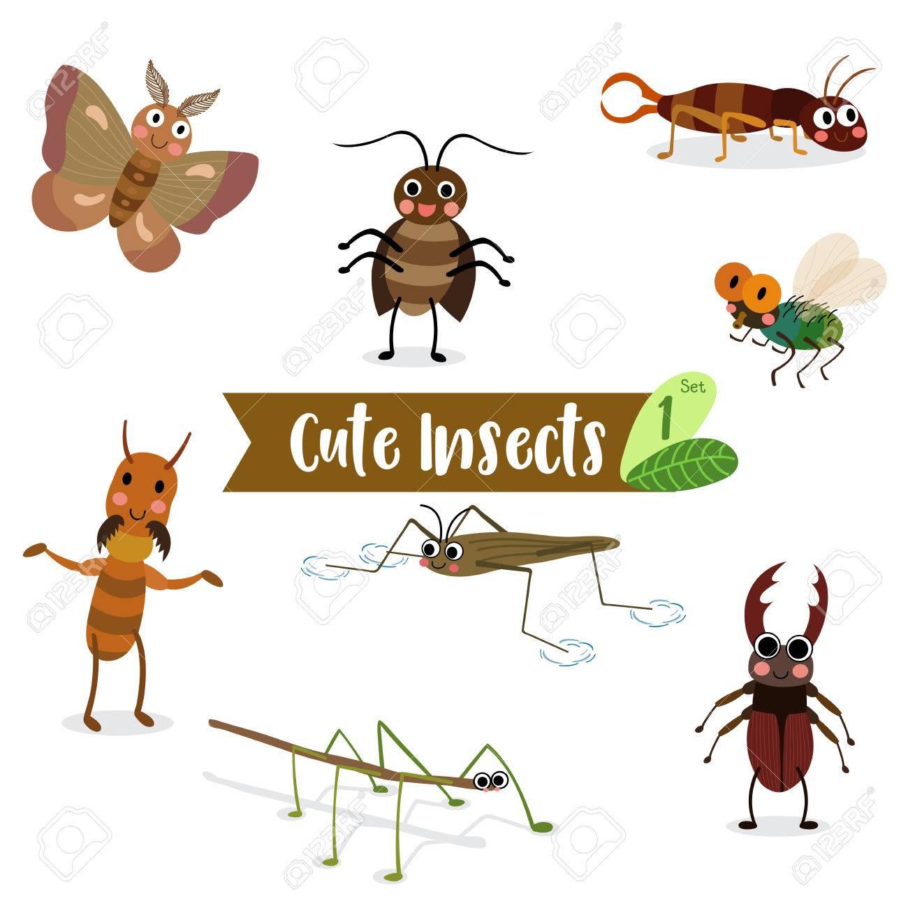 白い背景の上のかわいい昆虫動物漫画飛ぶゴキブリアメンボ