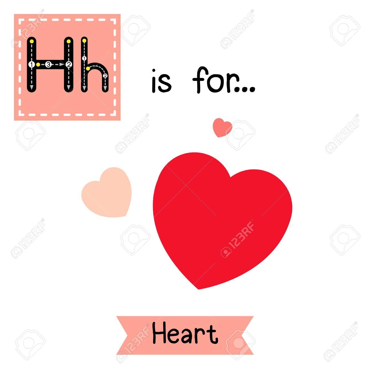 Cute Children Abc Alphabet H Letter Tracing Flashcard Of Heart