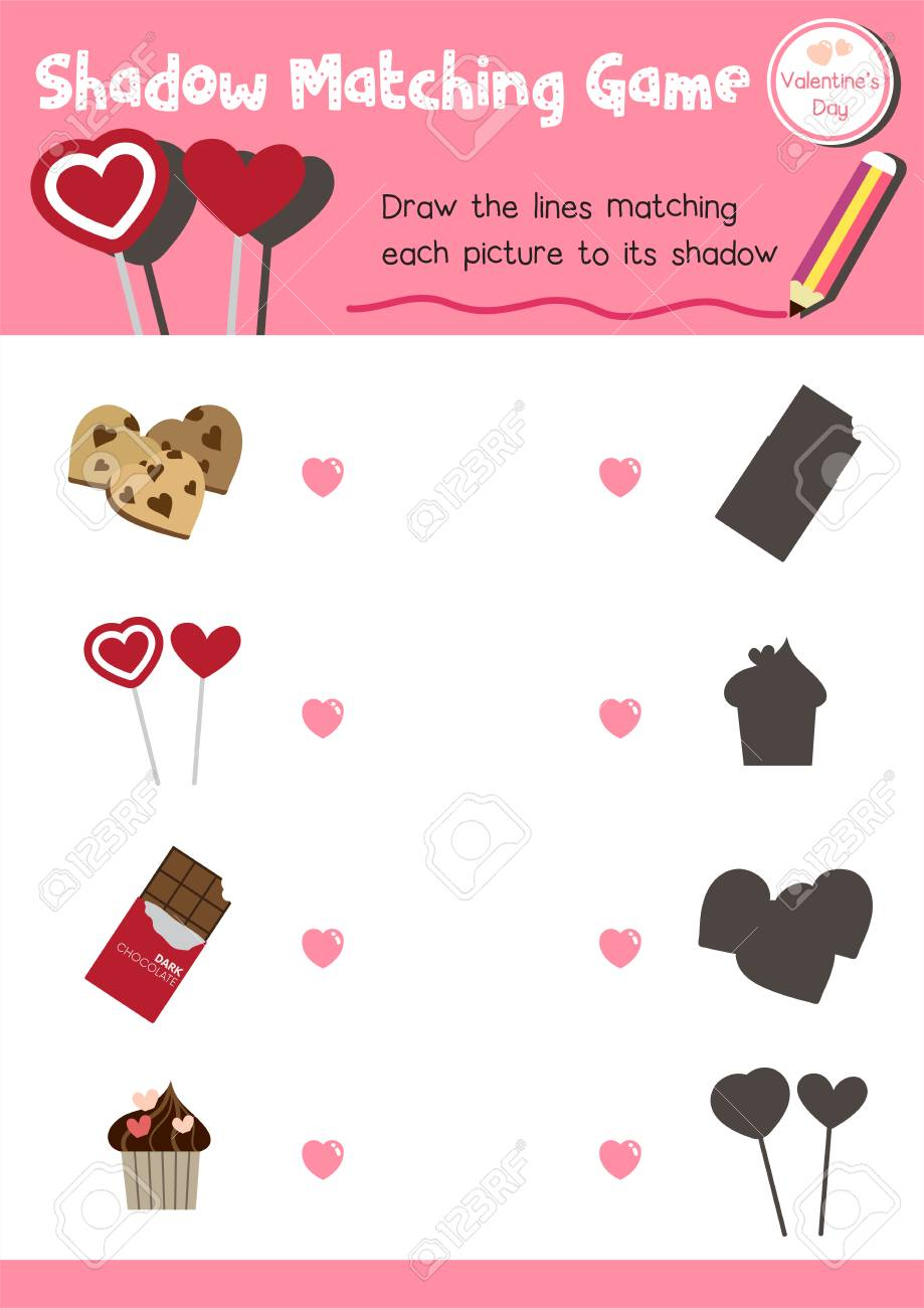 photo about Preschool Valentine Printable Worksheets named Shadow matching recreation of meals for preschool little ones recreation worksheet..