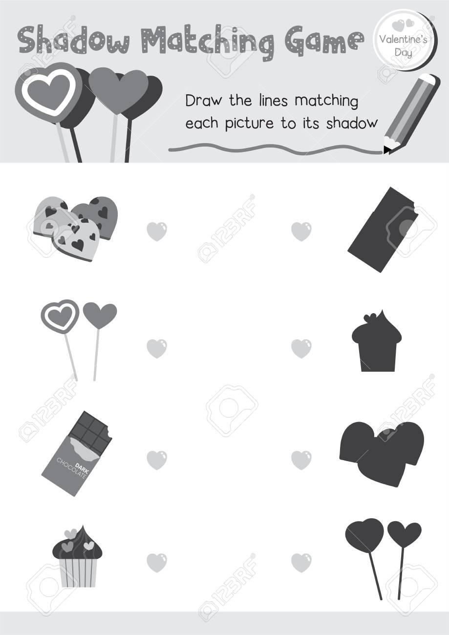 Shadow Matching Game Of Food For Preschool Kids Activity Worksheet ...