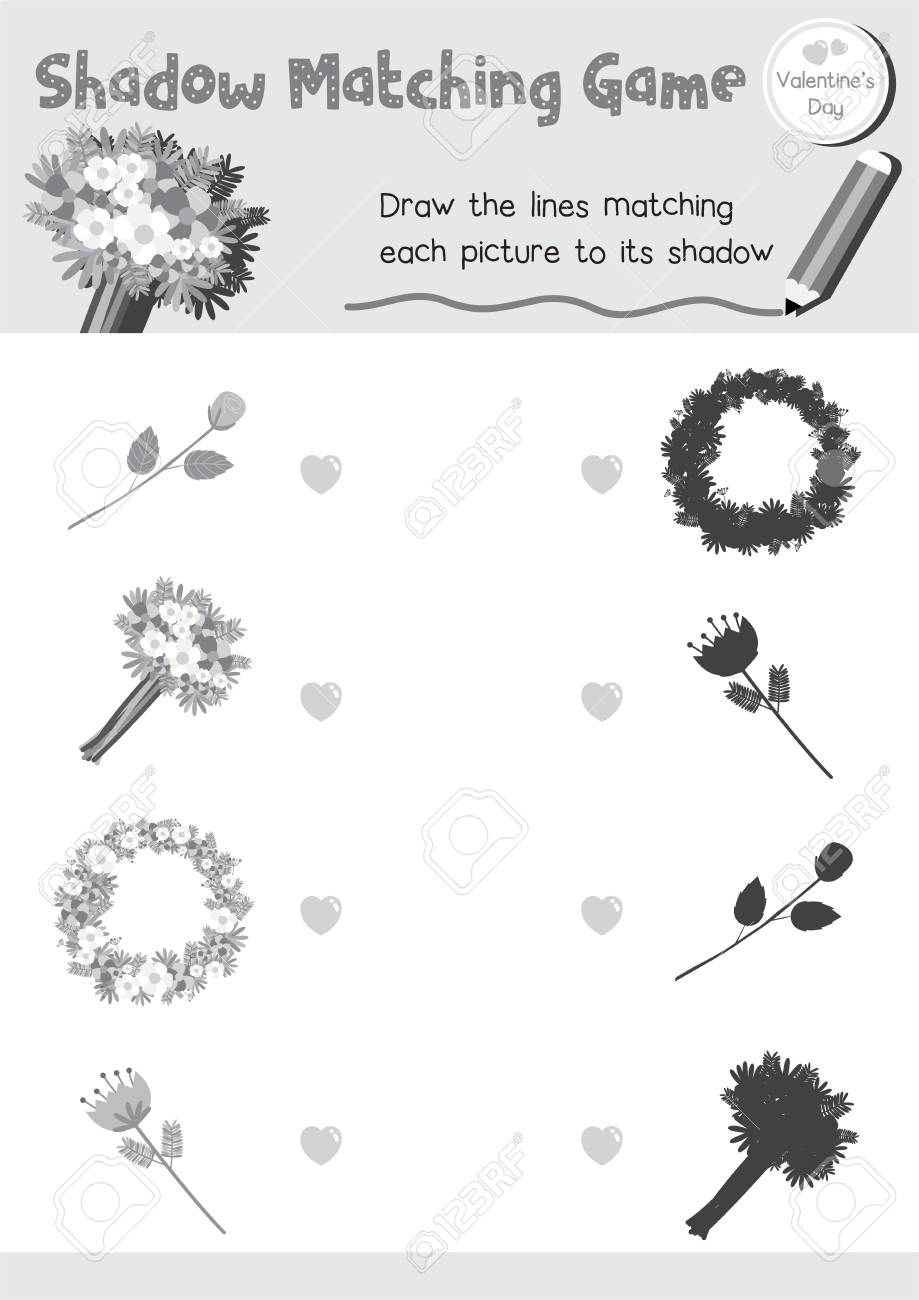 Shadow Matching Game Of Flowers For Preschool Kids Activity ...