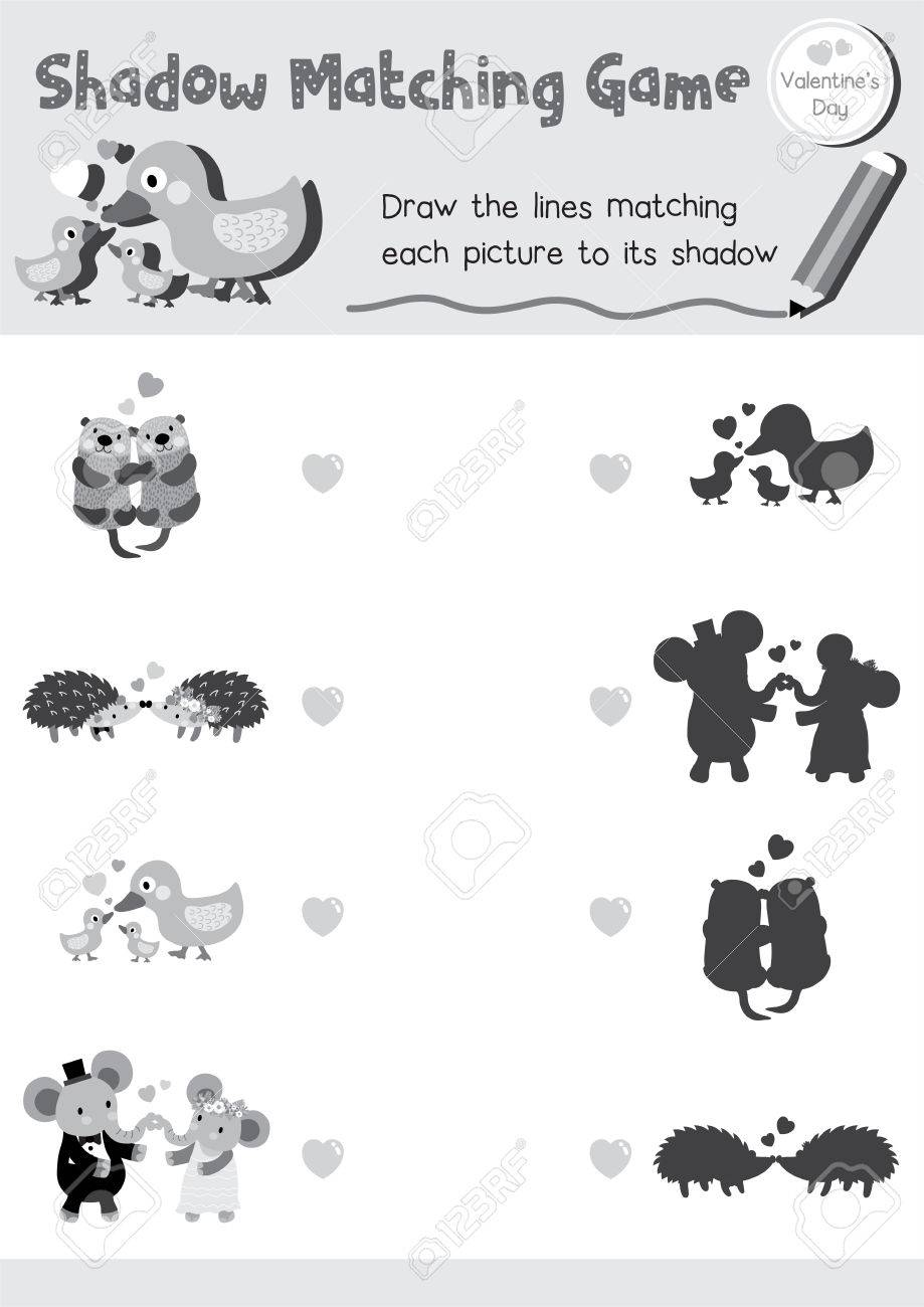 Shadow matching game of animals for preschool kids activity worksheet in valentines day theme colorless printable