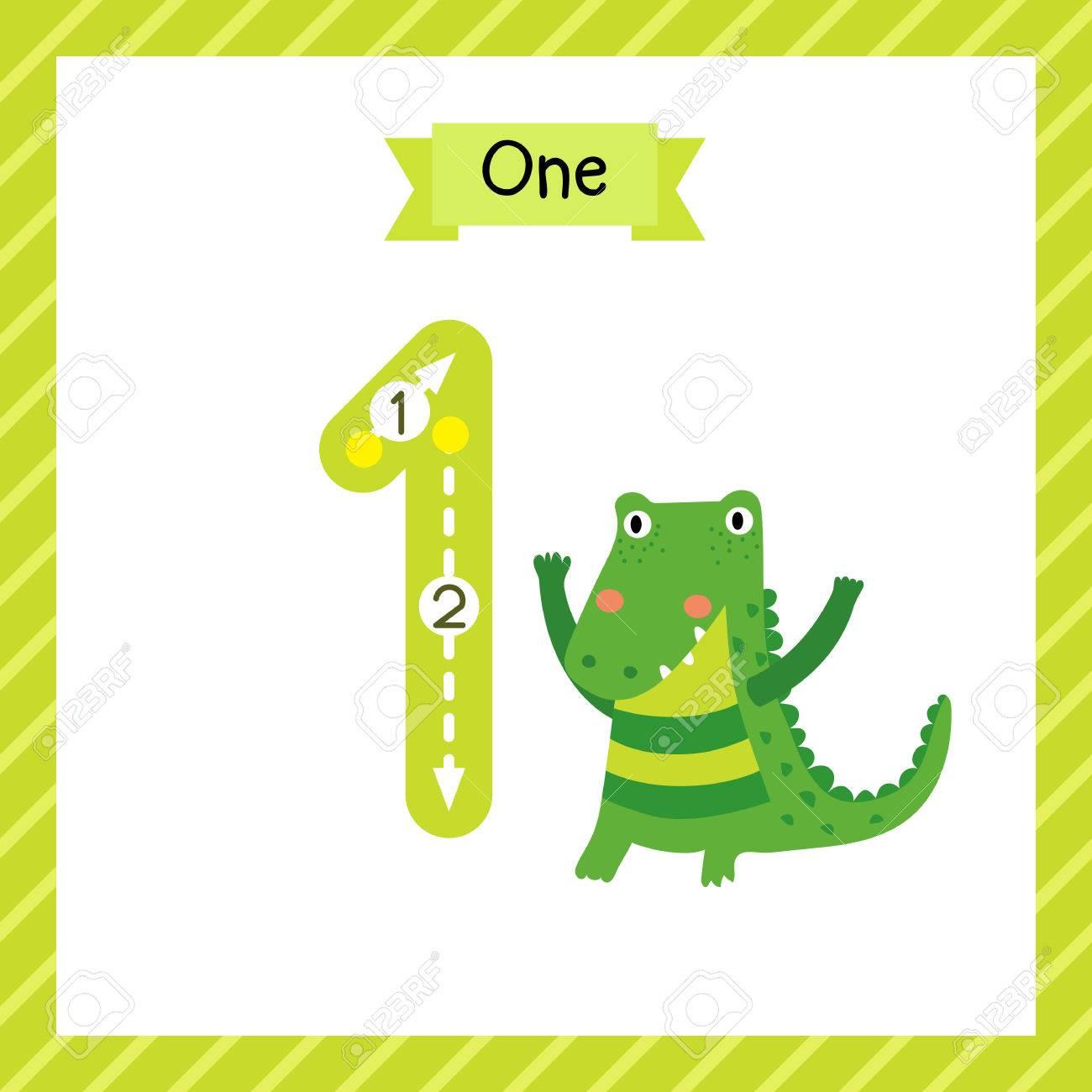 Nette Kinder Flashcard Nummer Eins Mit 1 Alligator Für Kinder Lernen ...