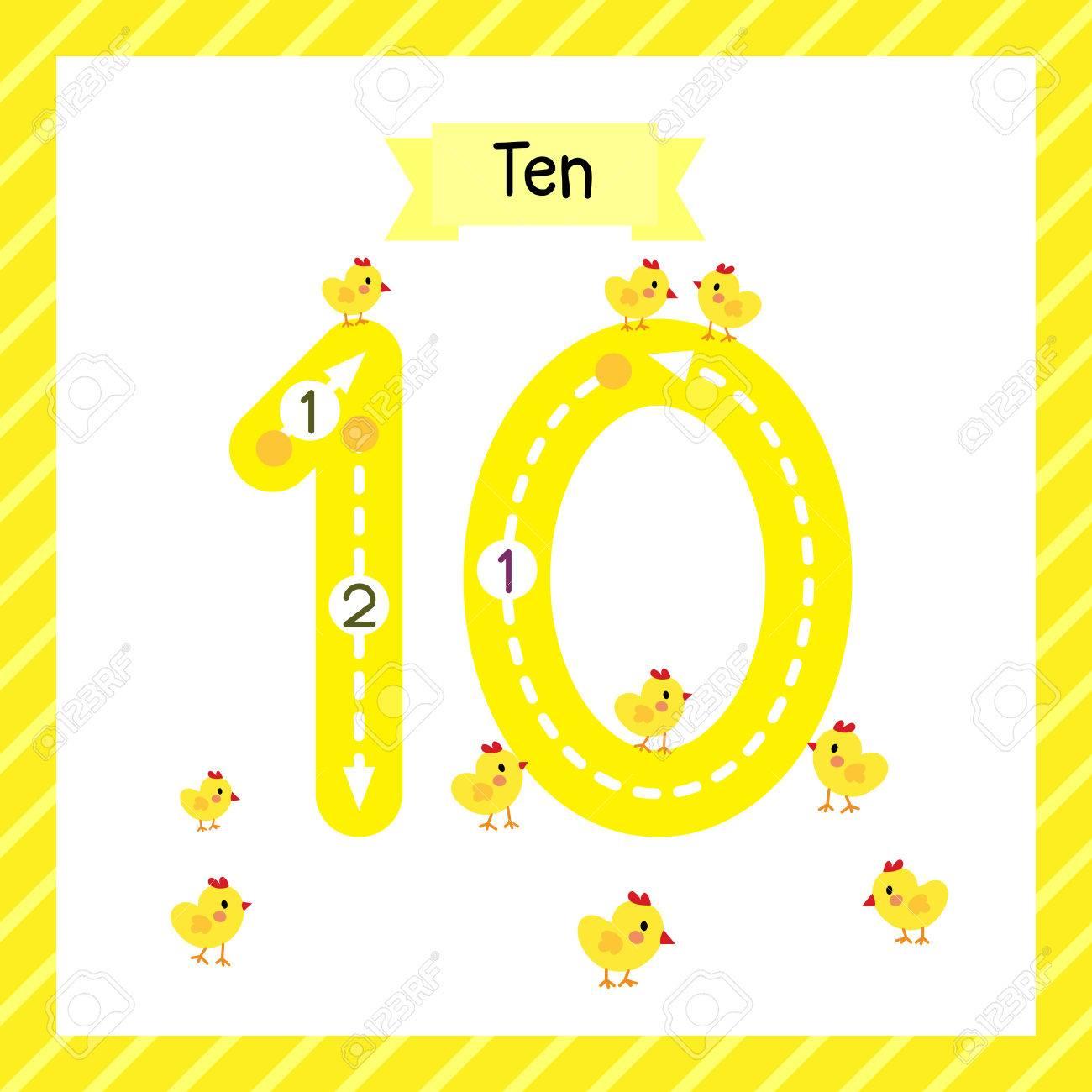Nette Kinder Flashcard Nummer Zehn Verfolgung Mit 10 Küken Für ...