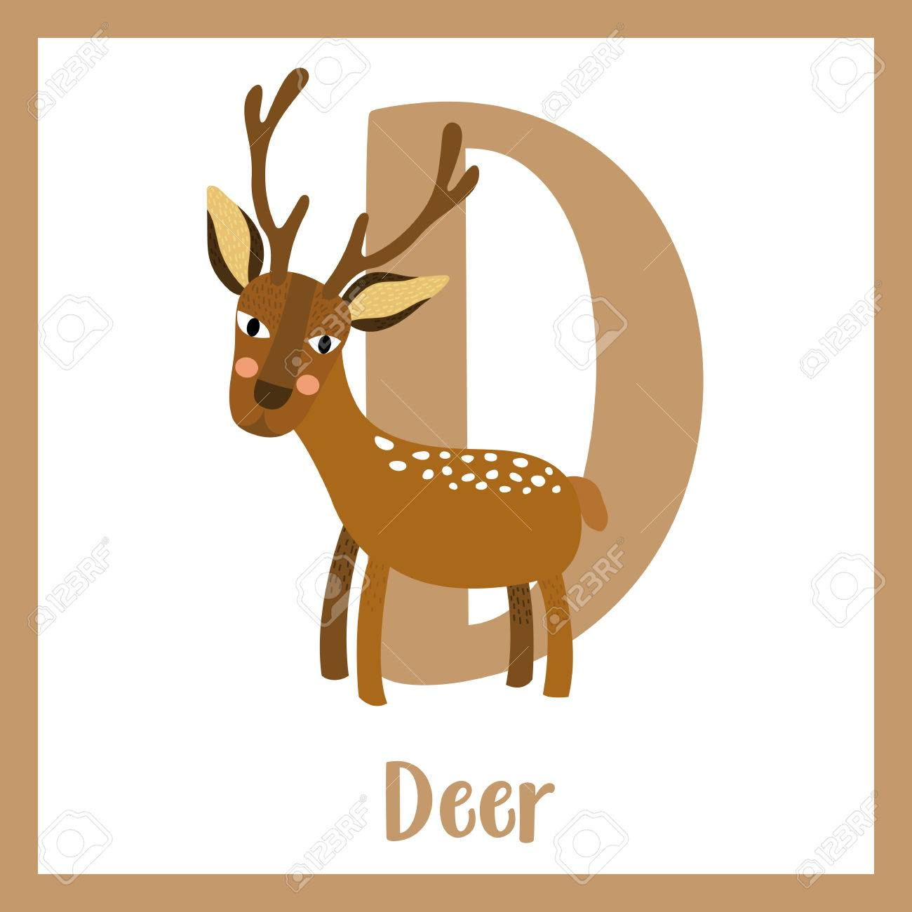 08f9d10d5 Vector illustration. D letter vocabulary. Deer. Cute children ABC zoo  alphabet flash card. Funny cartoon