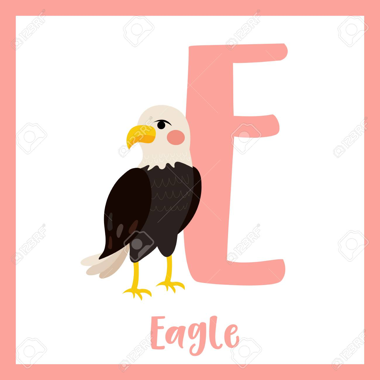 Standing Eagle. Cute Children ABC Zoo Alphabet Flash Card. Funny