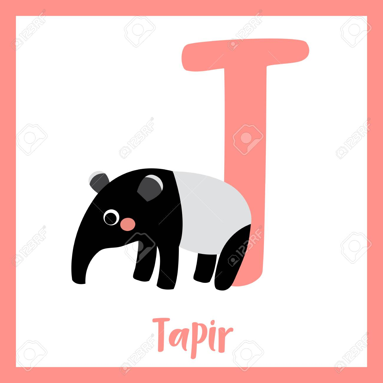 T Letter Vocabulary Standing Tapir Cute Children Abc Zoo Alphabet Royalty Free Cliparts Vectors And Stock Illustration Image 73324914