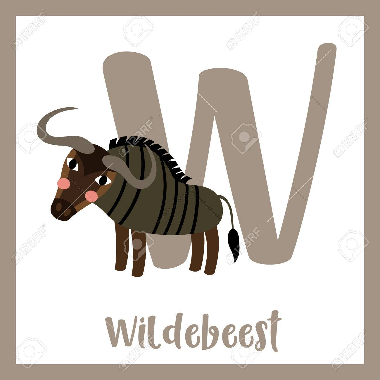 W Letter Vocabulary Blue Wildebeest Cute Children Abc Zoo Alphabet