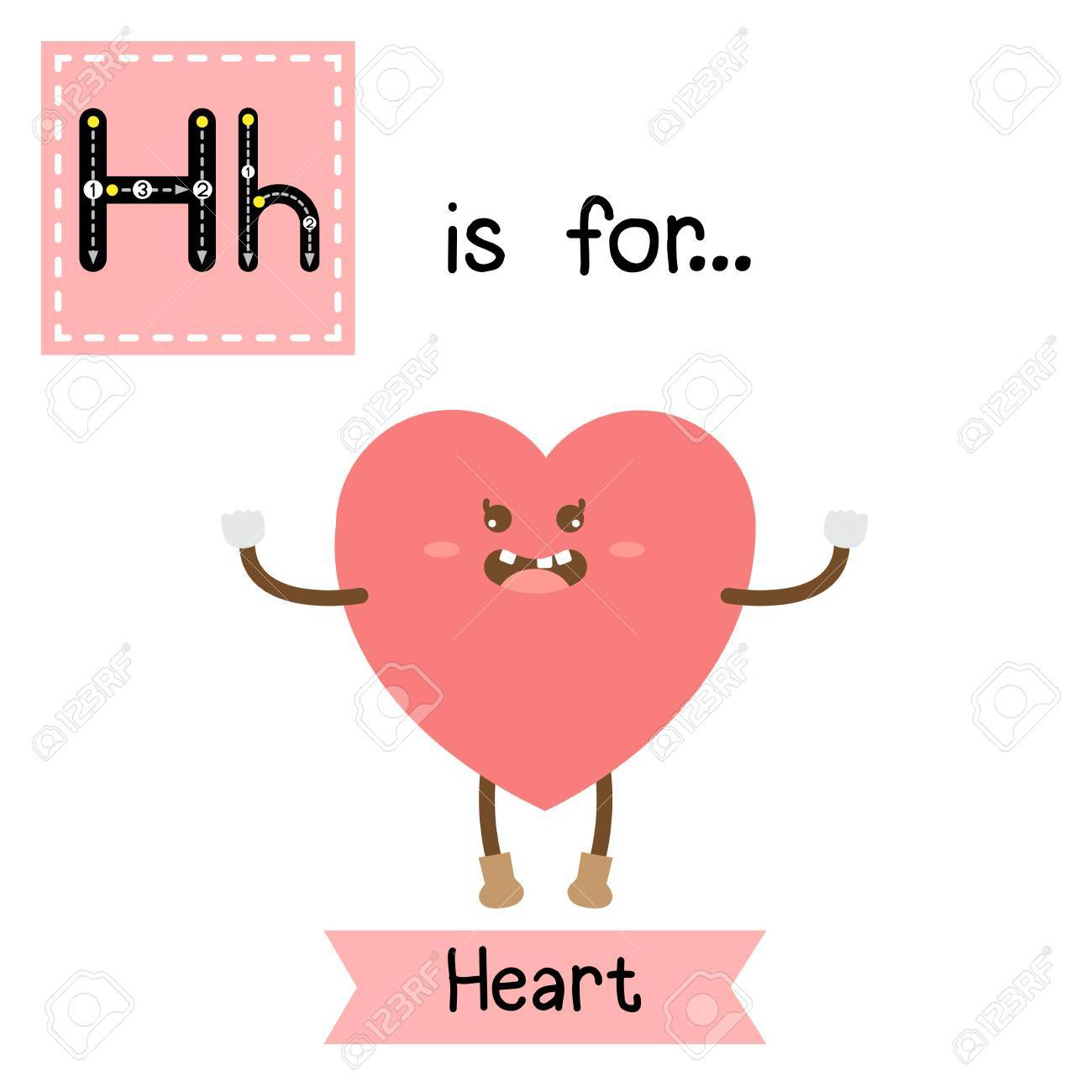 Letter H Cute Children Colorful Geometric Shapes Alphabet Tracing