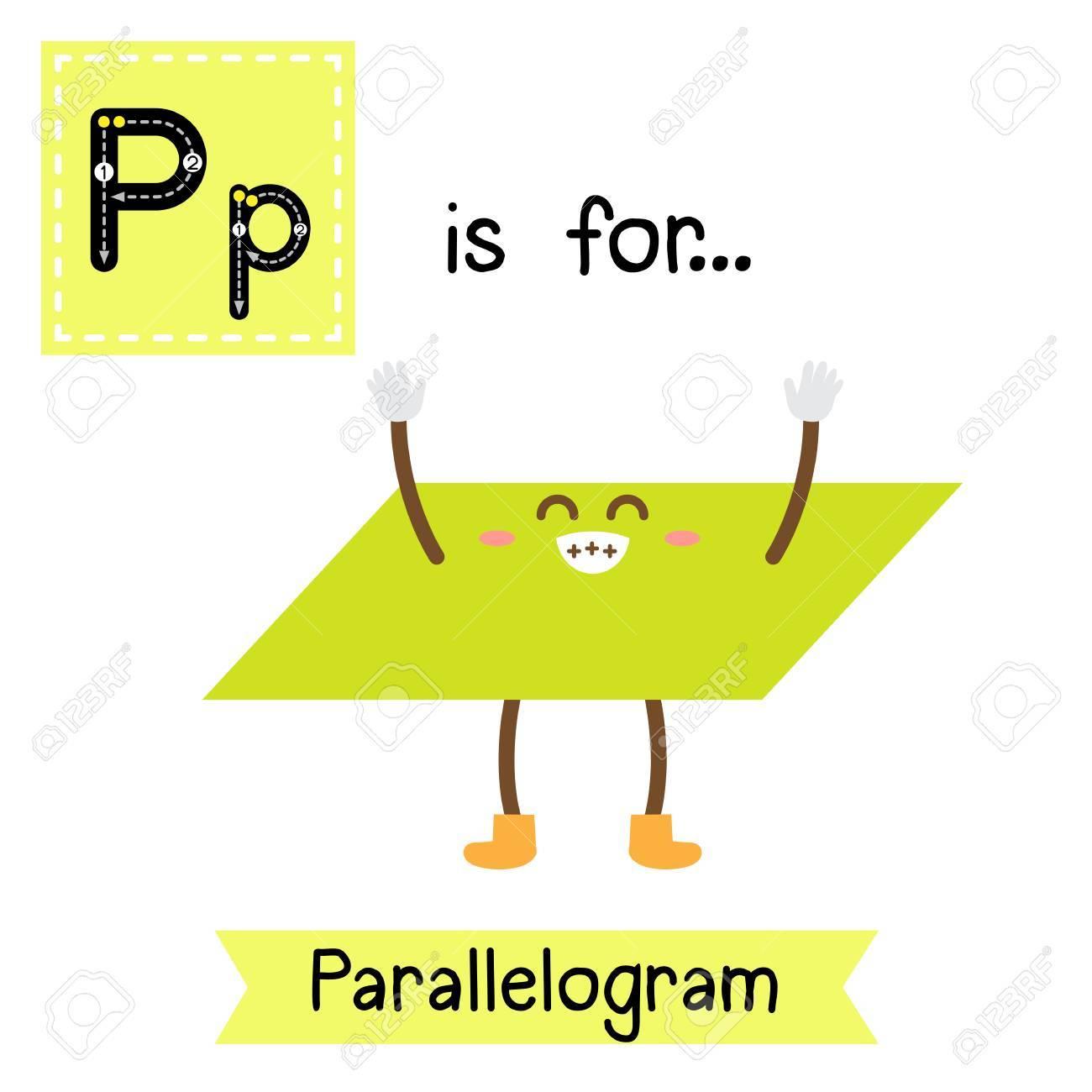 letra p niños lindos coloridas formas geométricas abecedario