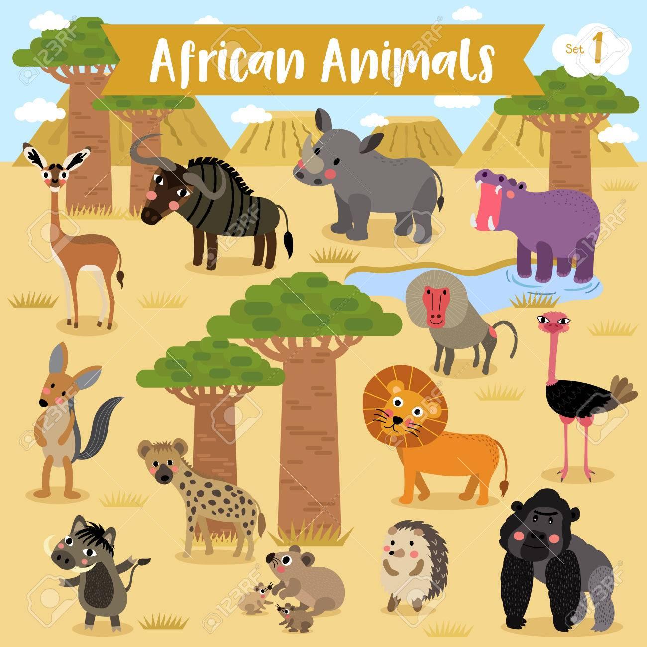 Animales Africanos De Dibujos Animados Con áfrica Paisaje De Fondo Ilustración Vectorial Serie 1 Ilustraciones Vectoriales Clip Art Vectorizado Libre De Derechos Image 74642308