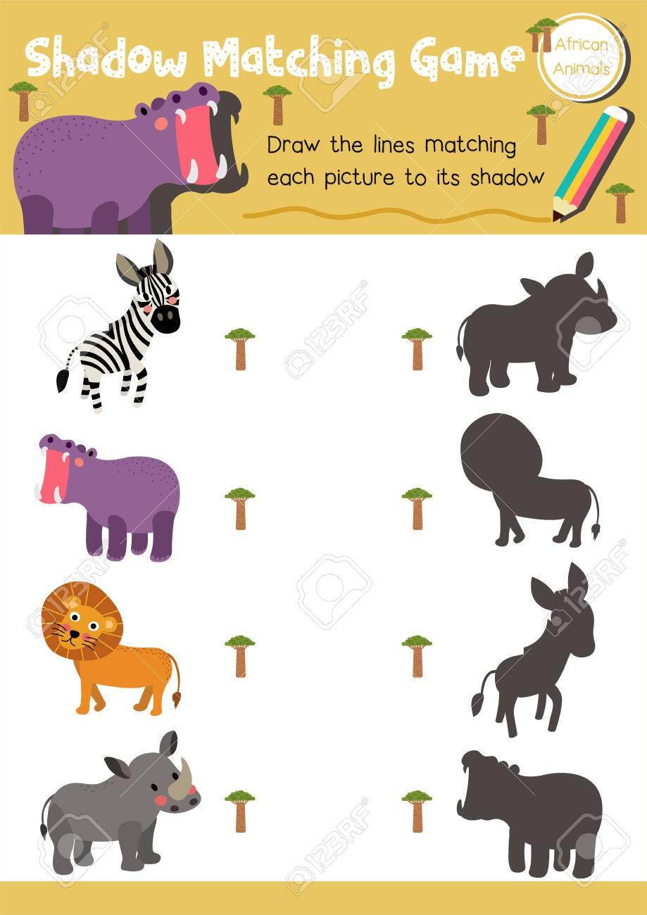 Schatten Matching Spiel Von Afrikanischen Tieren Für Vorschule ...