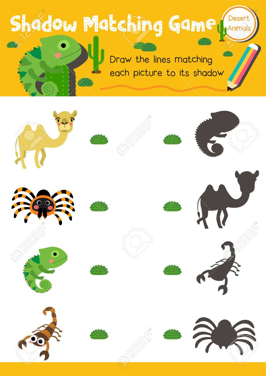 image relating to Dinosaur Matching Game Printable named Shadow matching video game of desert pets for preschool children game..