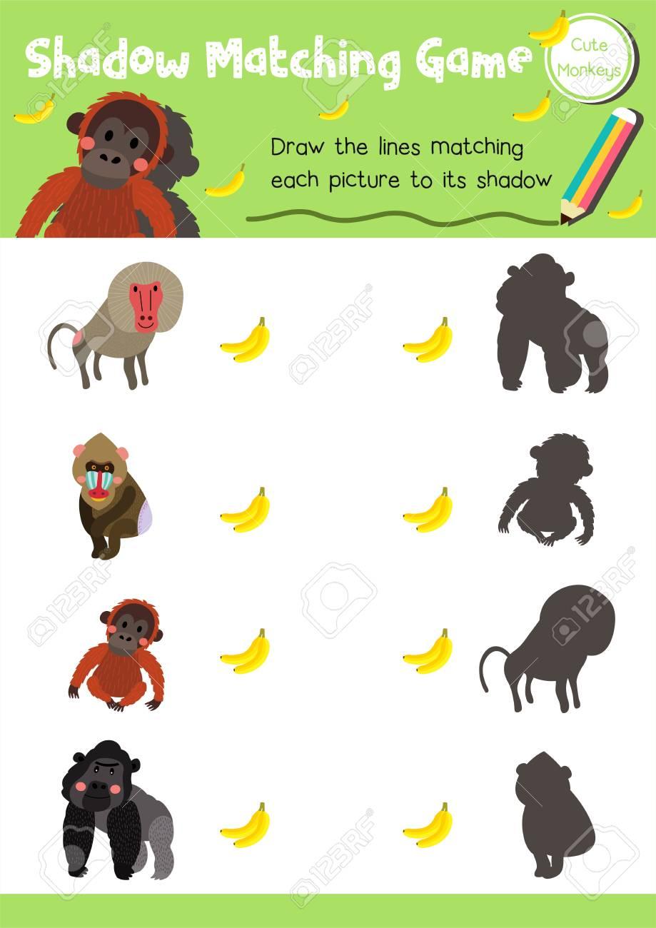 Shadow Matching-Spiel Von Affen Affen Tiere Für Vorschulkinder ...