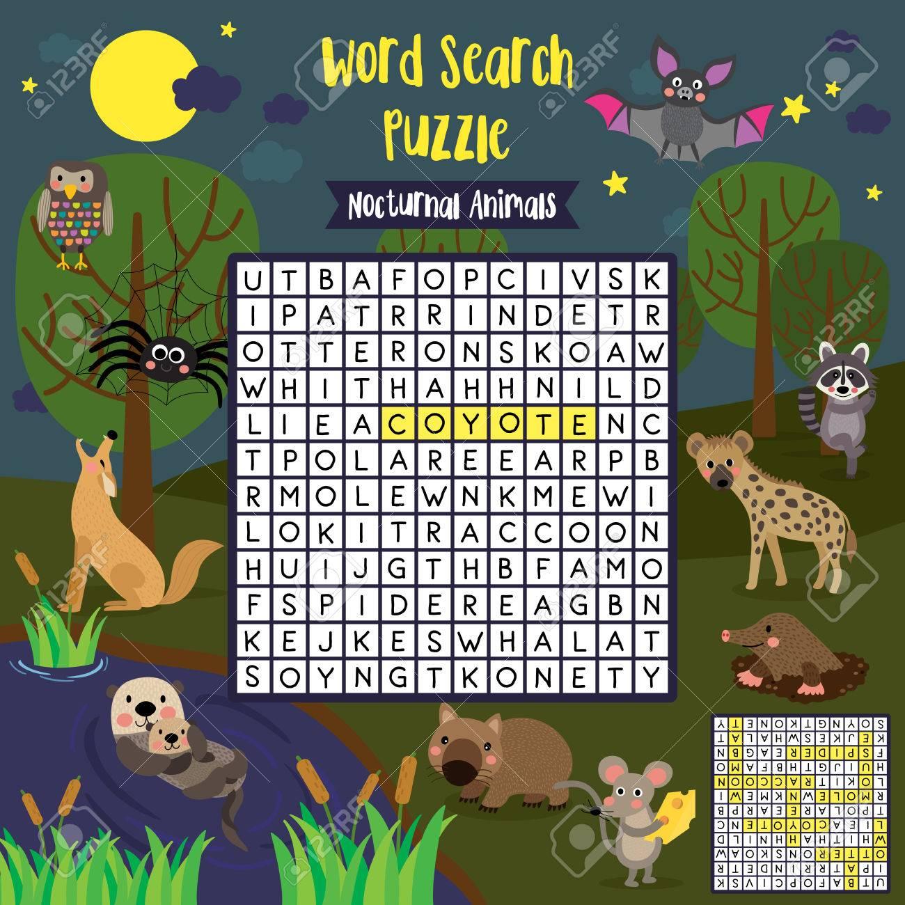 Wörter Suchen Puzzle-Spiel Von Nächtlichen Tieren Für Vorschule ...